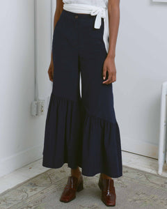 Navy Corduroy Shirring Flare Pants