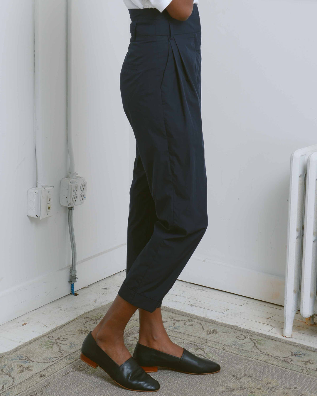 Black High Waist Front Pleated Trousers