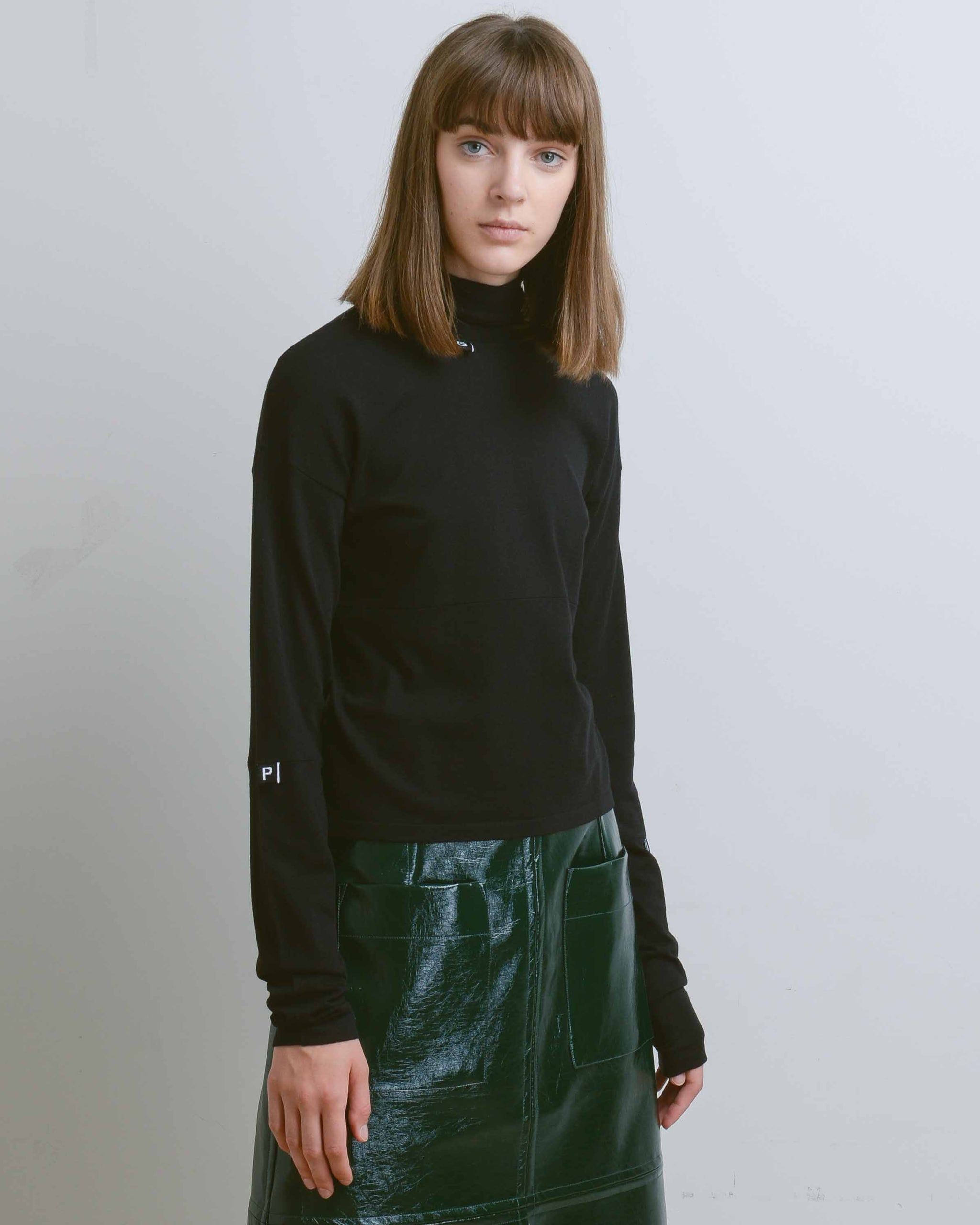 Black Daisy Recycled Modal Logo Turtleneck