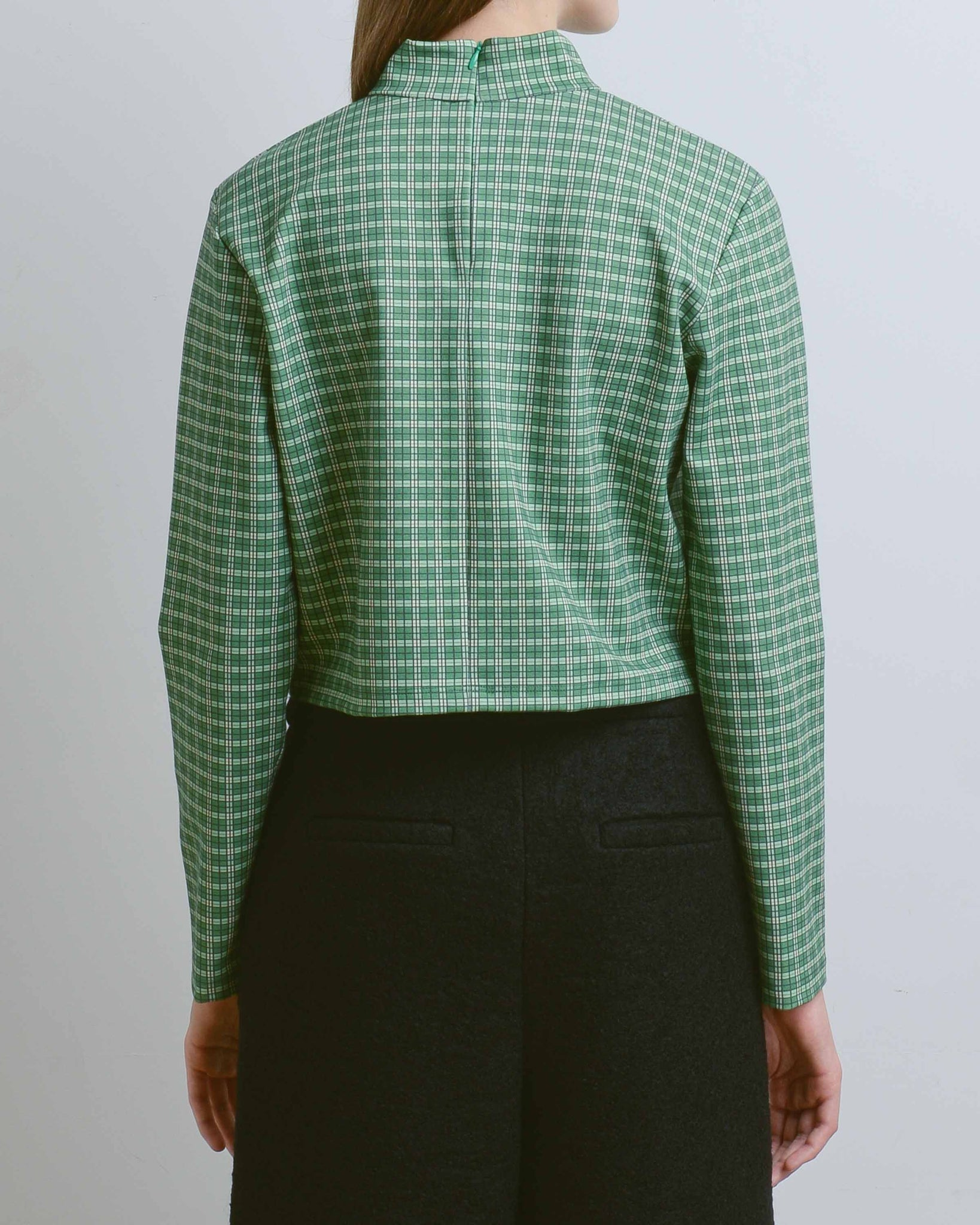 Green Plaid Mock Neck Top