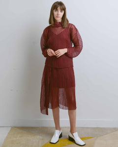 Burgundy Lewis Organza Pleat Top