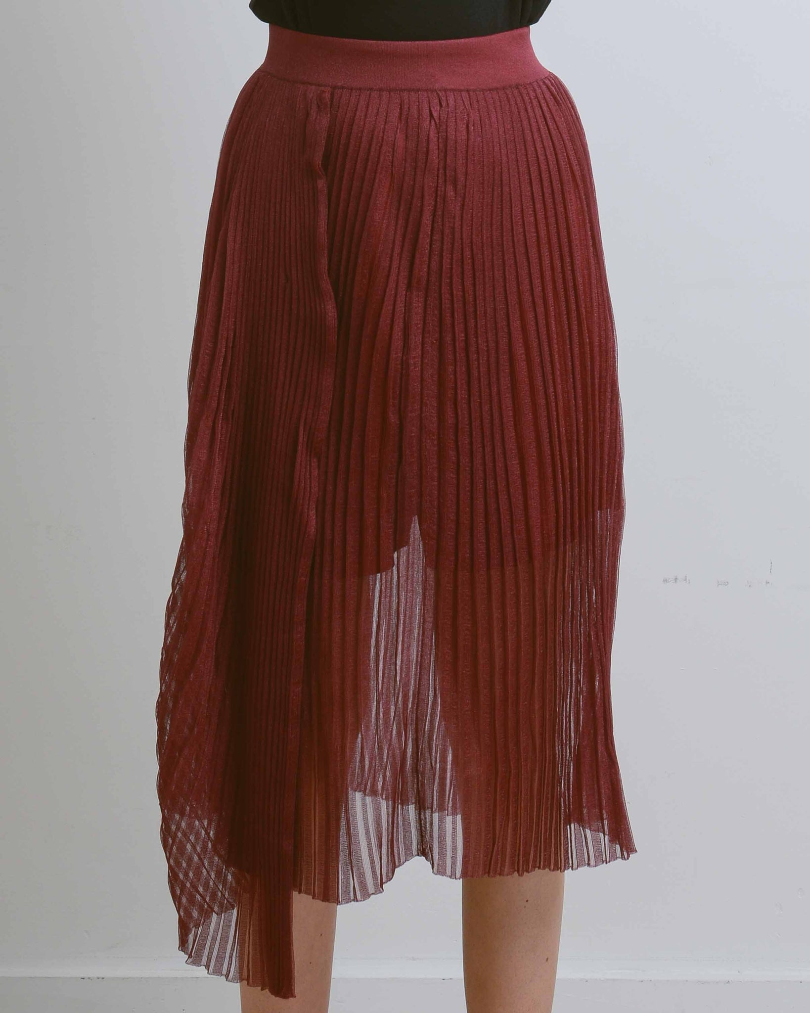Burgundy Haigha Organza Pleat Skirt