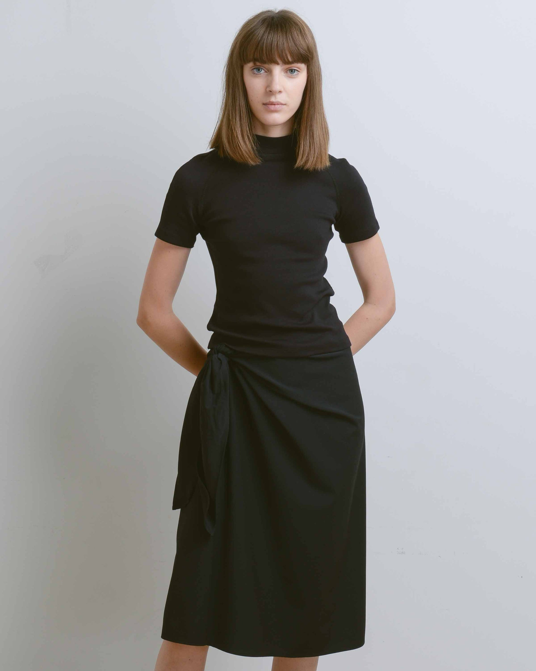 Black Dilone Tie Front Skirt