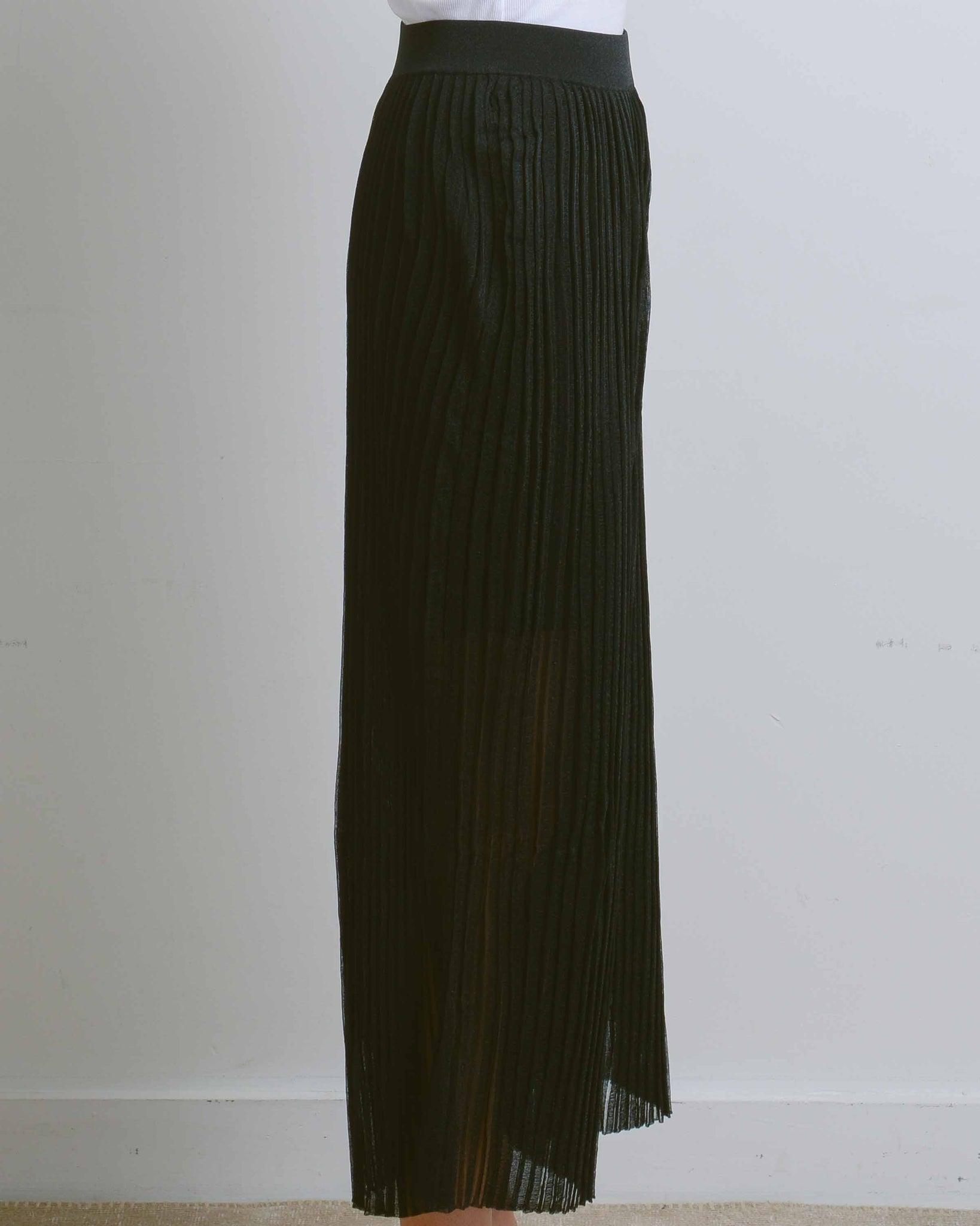 Black Dinah Organza Pleat Wide Leg Pants