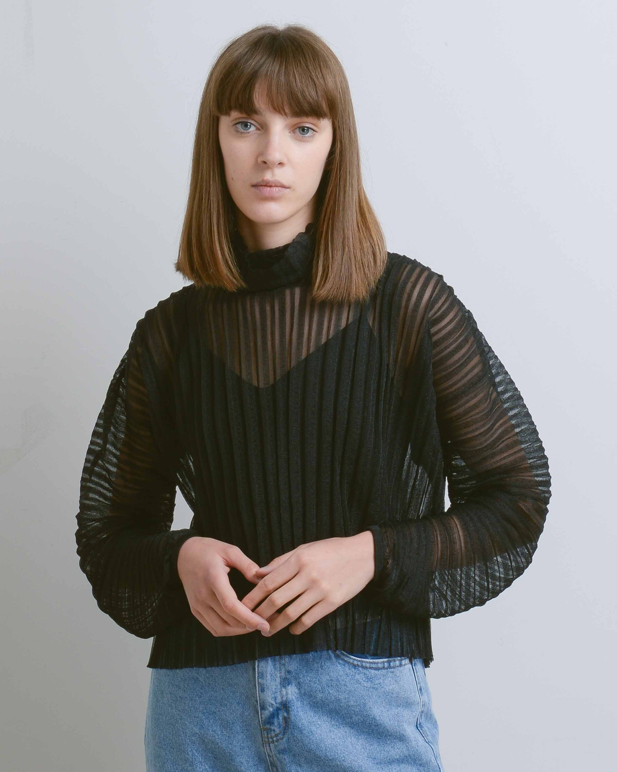 Black Lewis Organza Pleat Top
