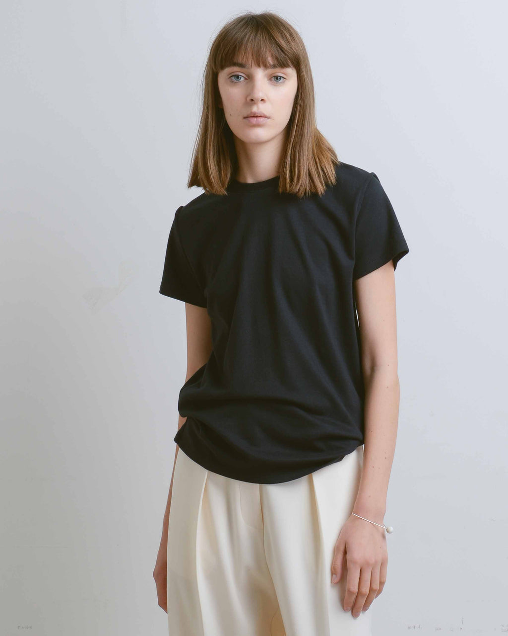 Black Cotton Inverted Seams Tee