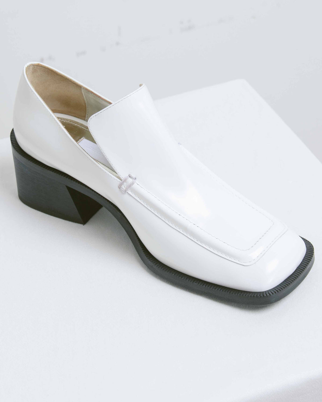 White Wide Toe Loafer
