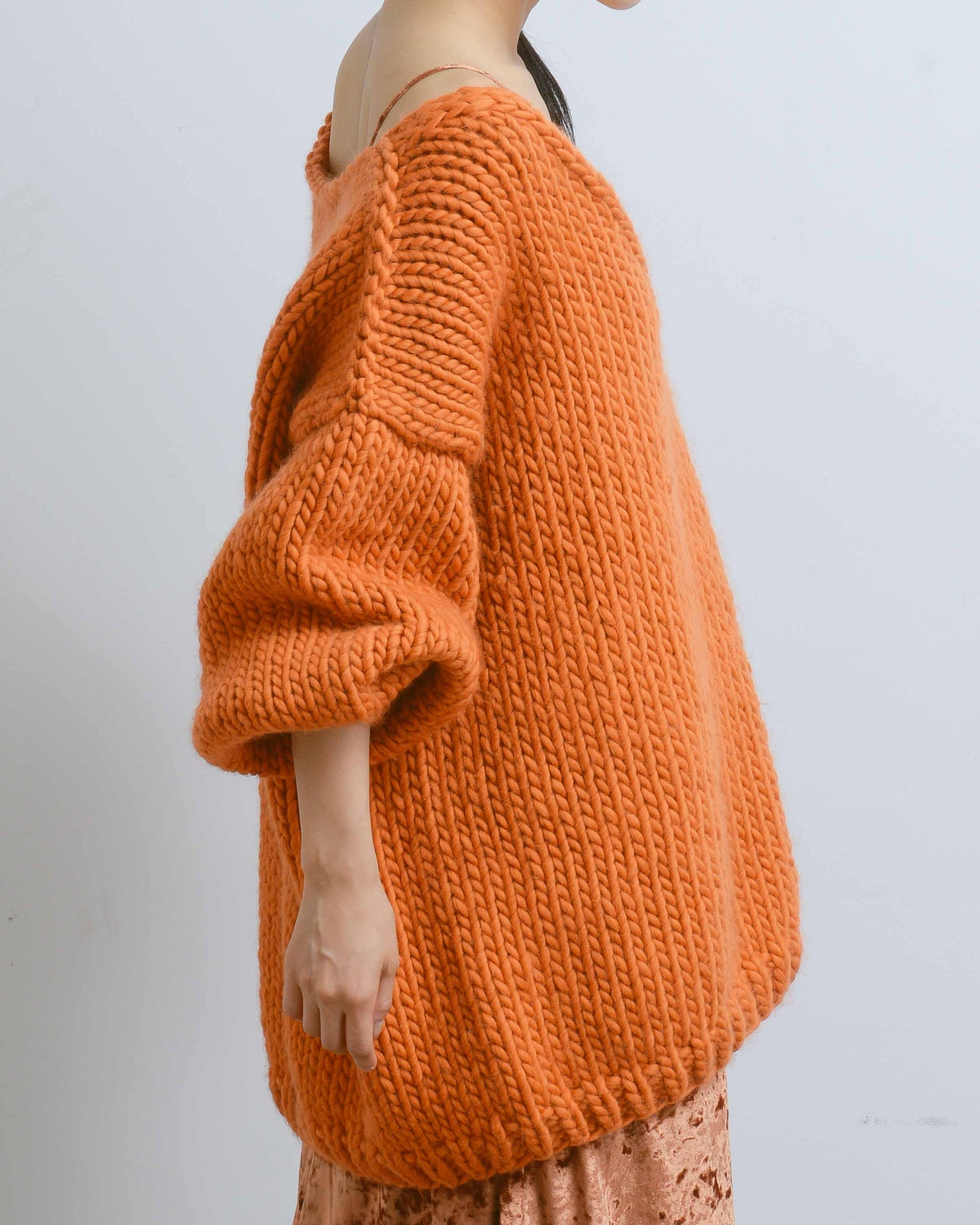 Orange Oversized V-neck Sweater