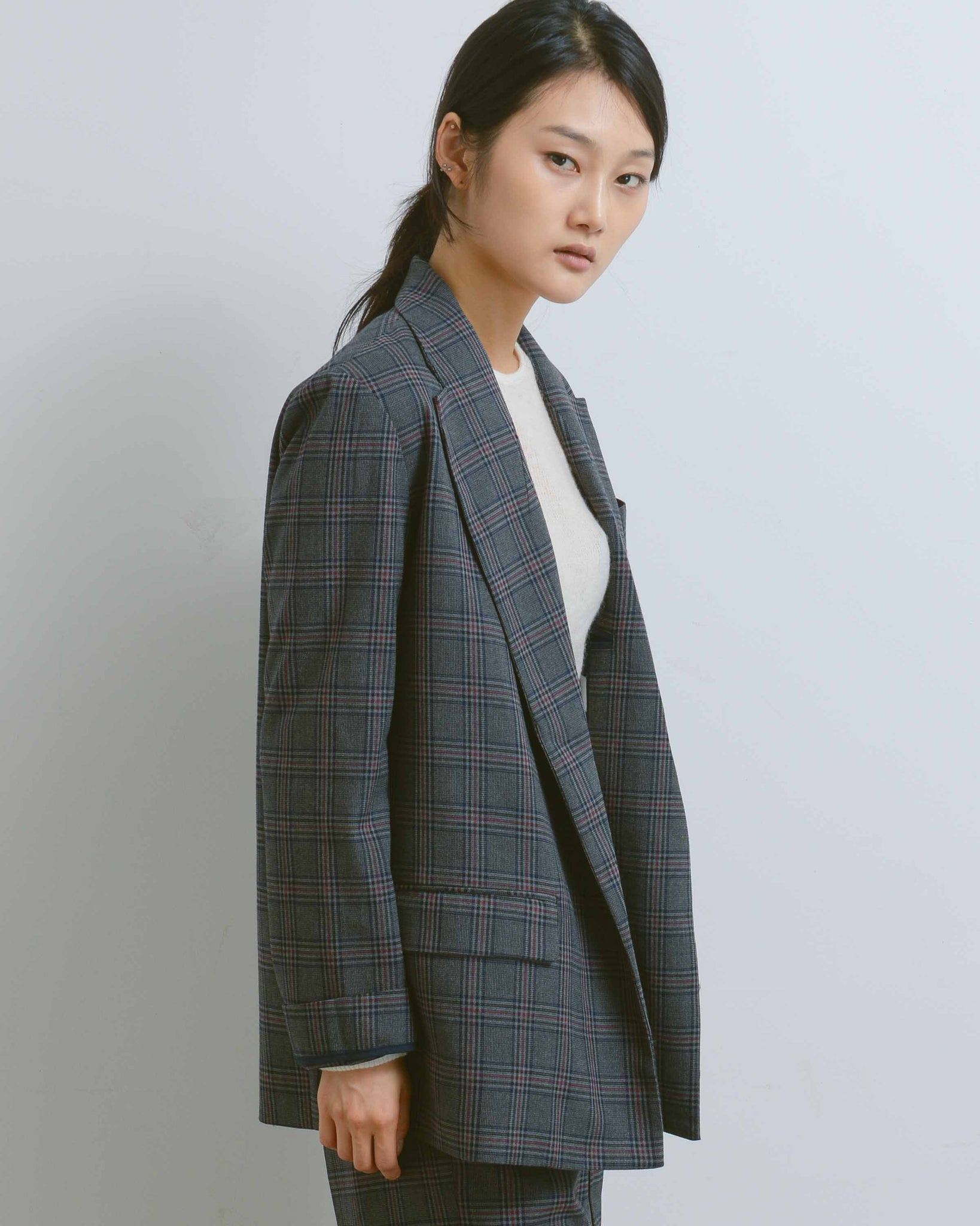 Charcoal Oversized Plaid Jacket