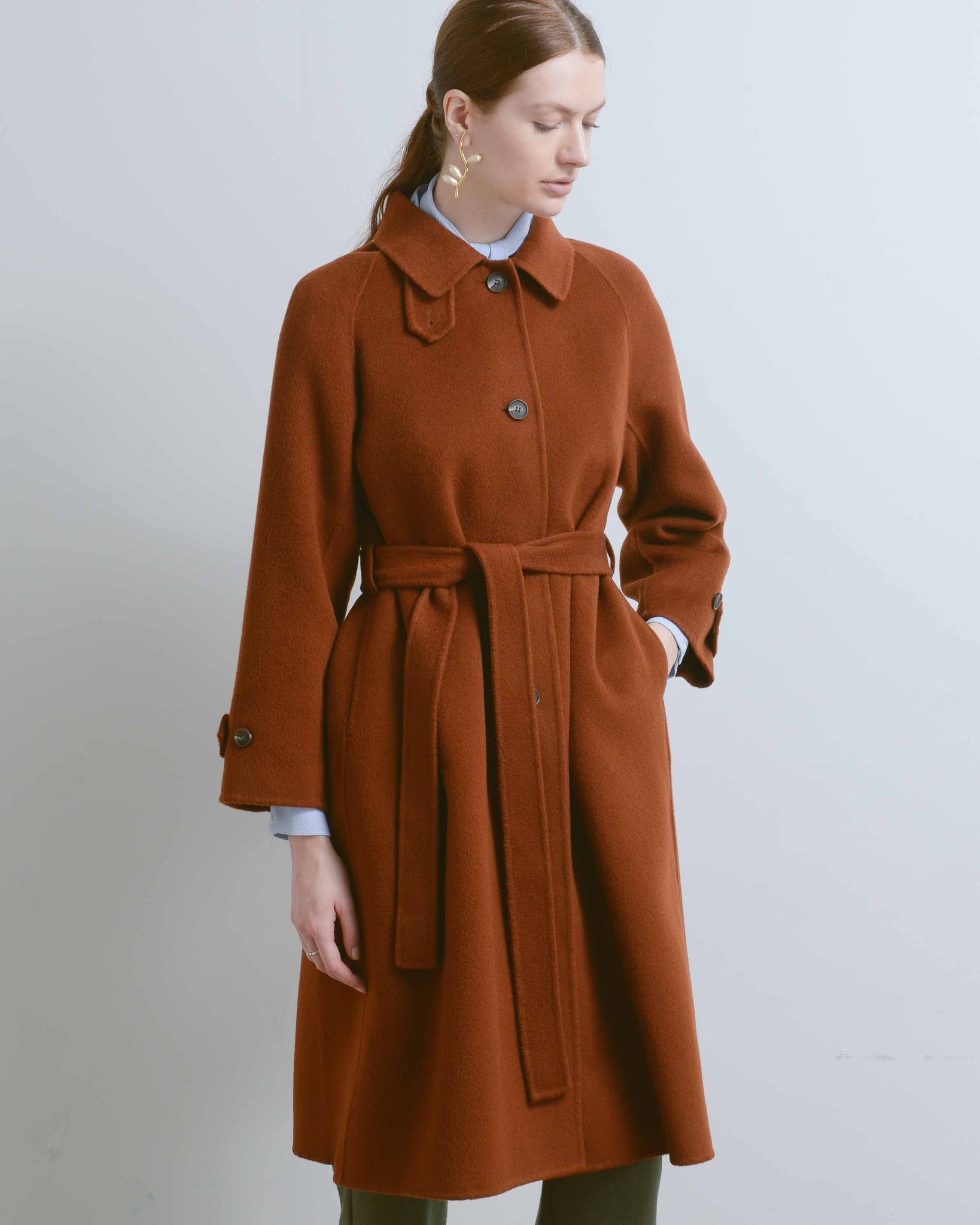 Rust Single Breasted Wool Blend Coat