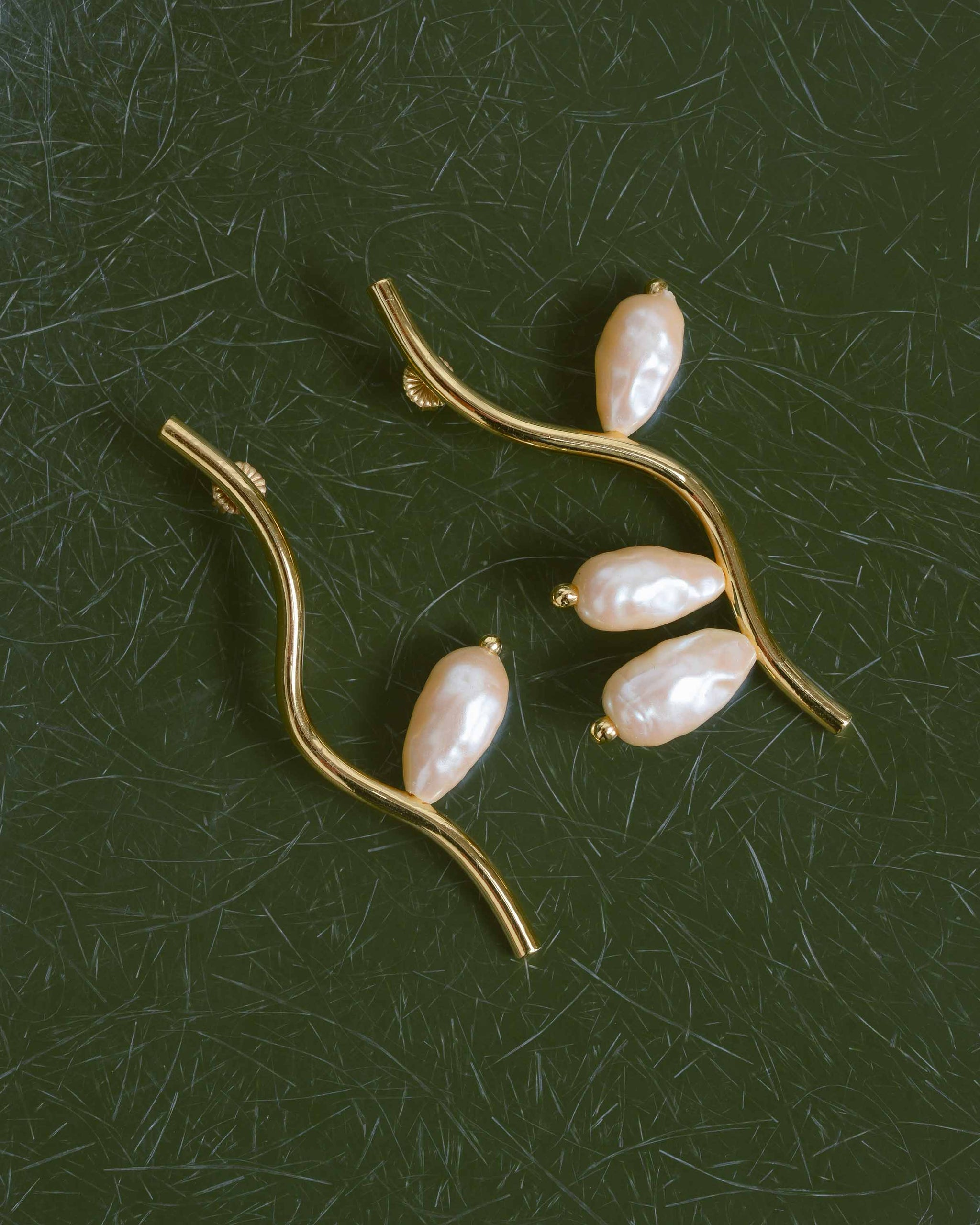 14k Gold Plated Brass Branch Earrings