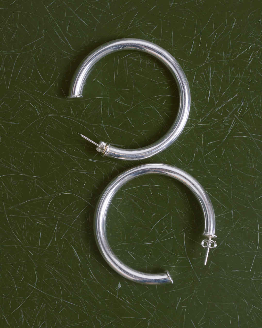 Silver Large Thick Hoops
