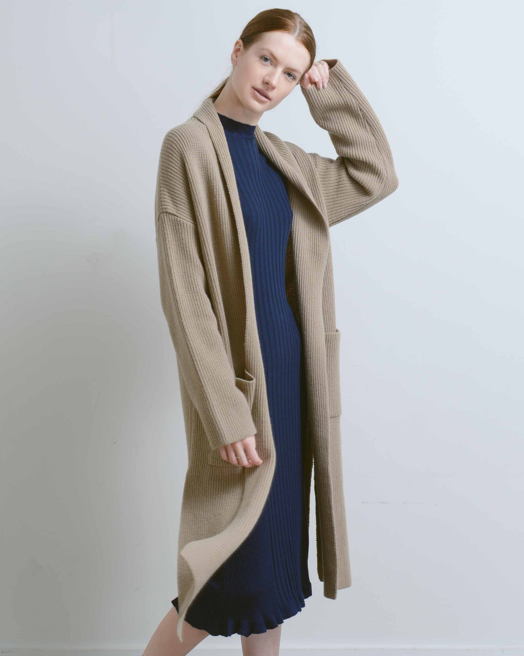 Wool Blend Ribbed Long Cardigan