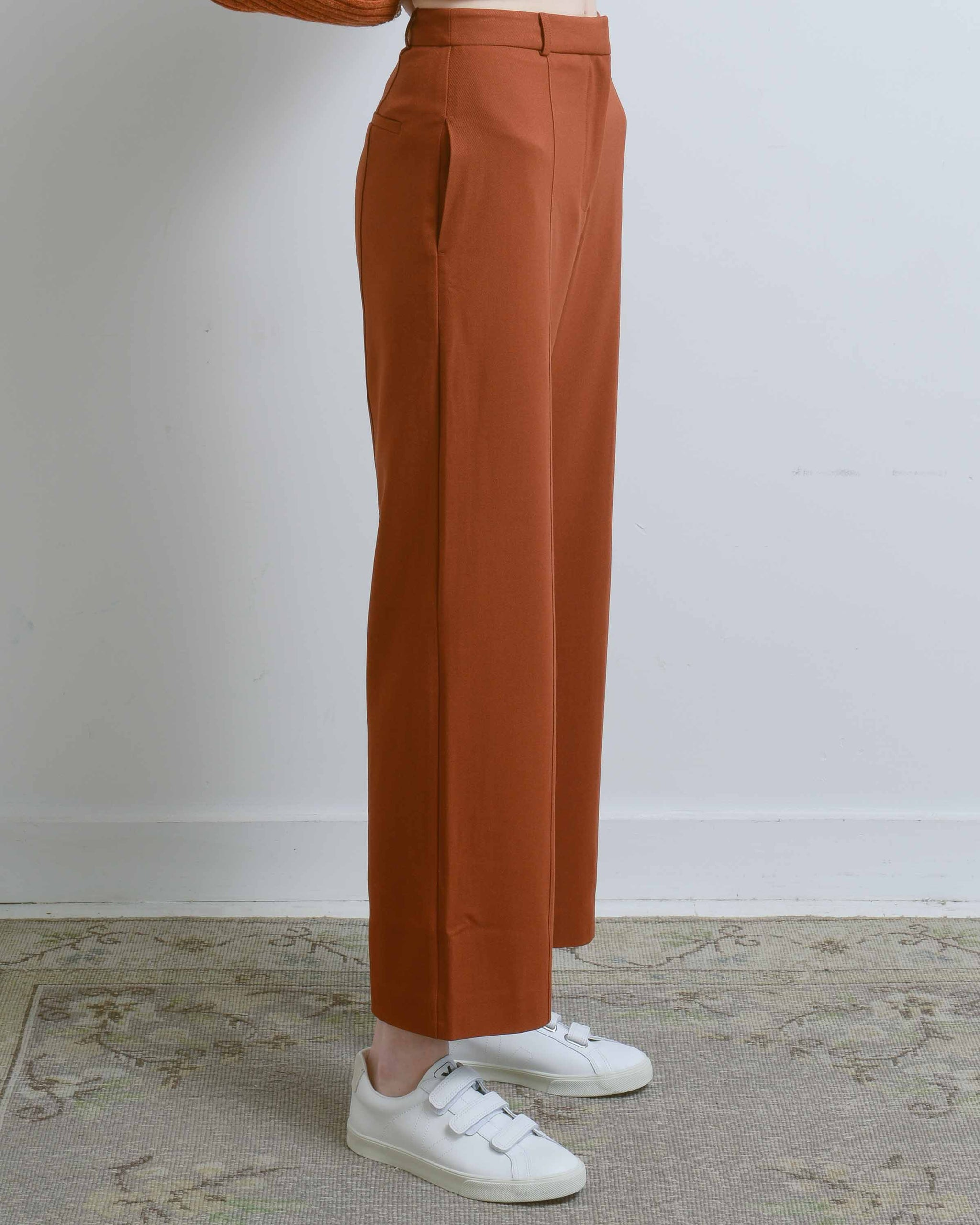 Rust Front Seam Wide Leg Pants