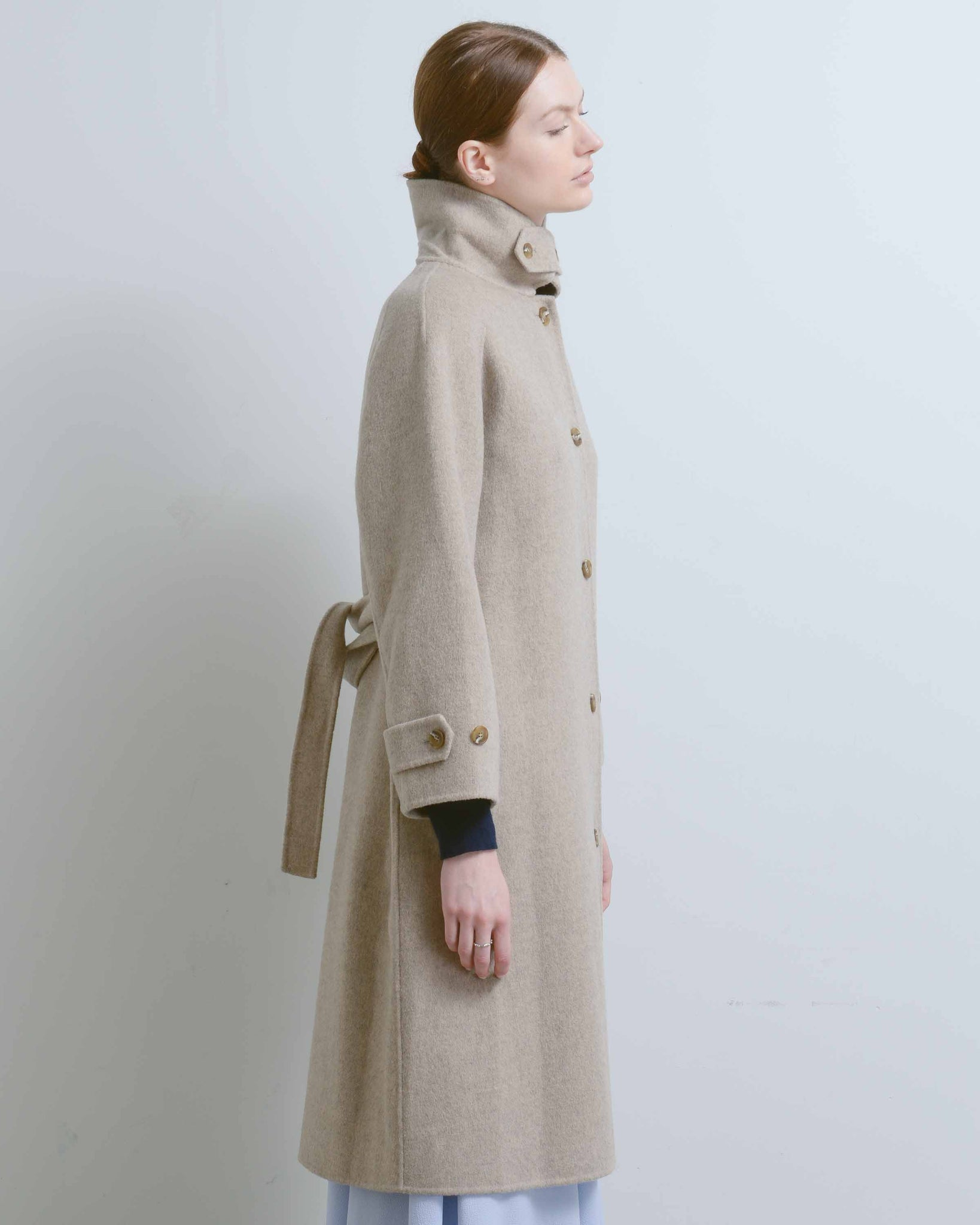 Taupe Single Breasted Wool Blend Coat
