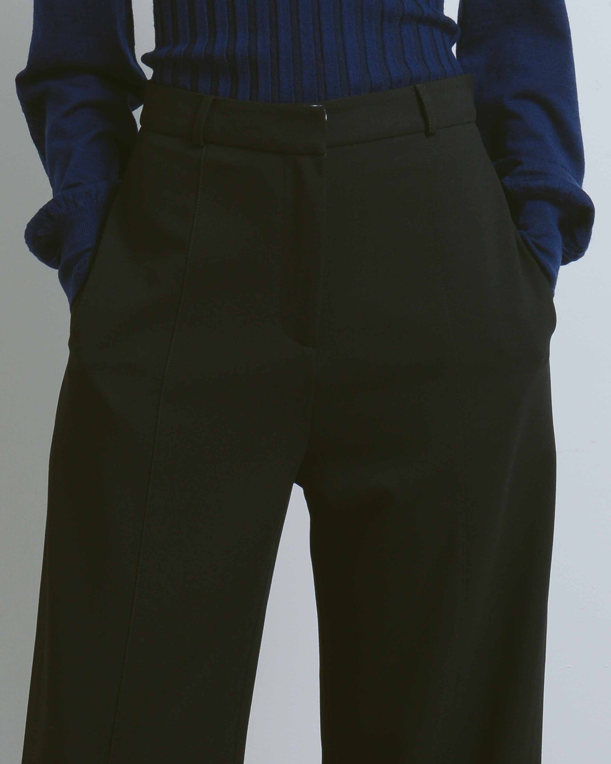 Black Front Seam Wide Leg Pants