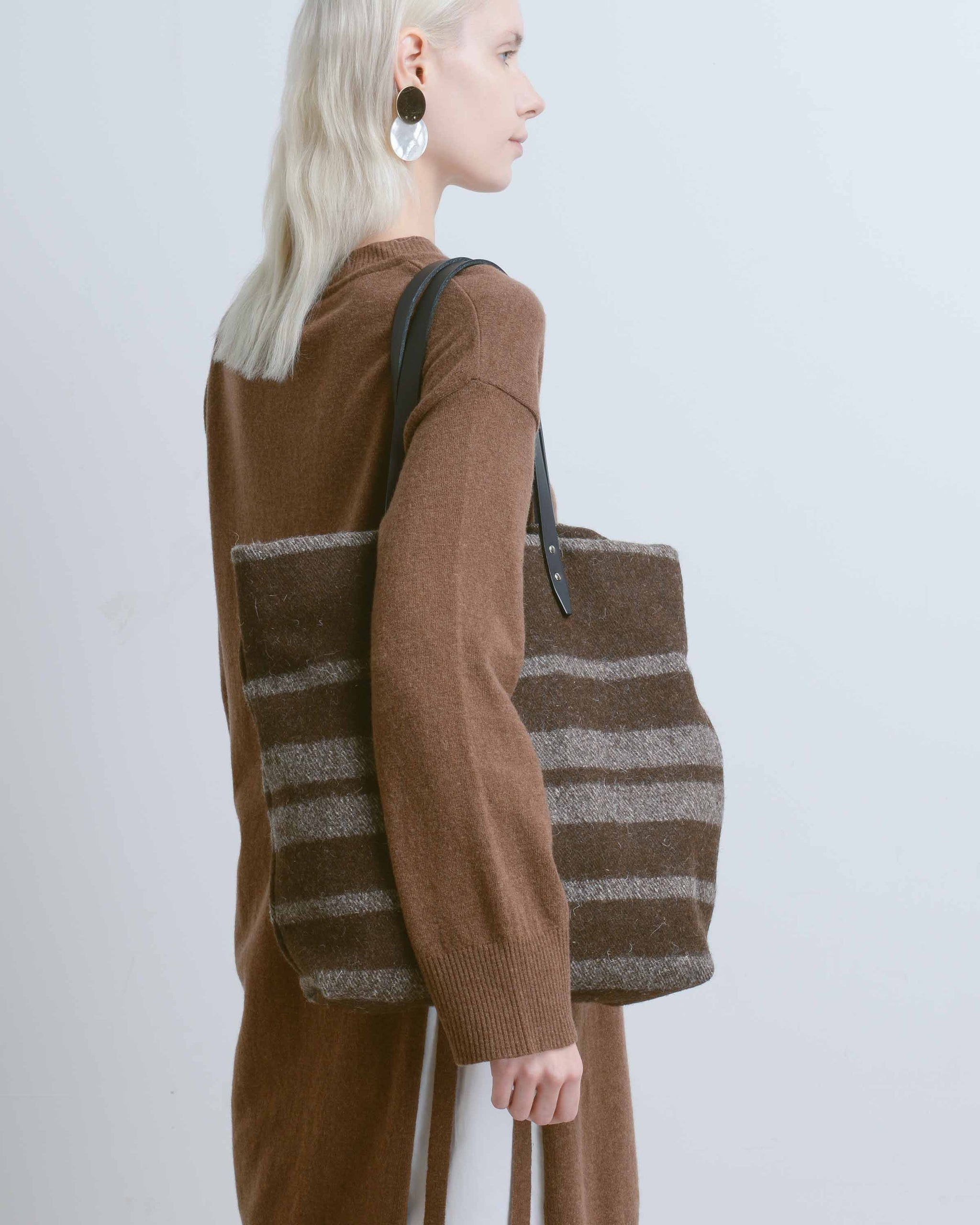 Grey & Brown Large Stripe Blanket Tote