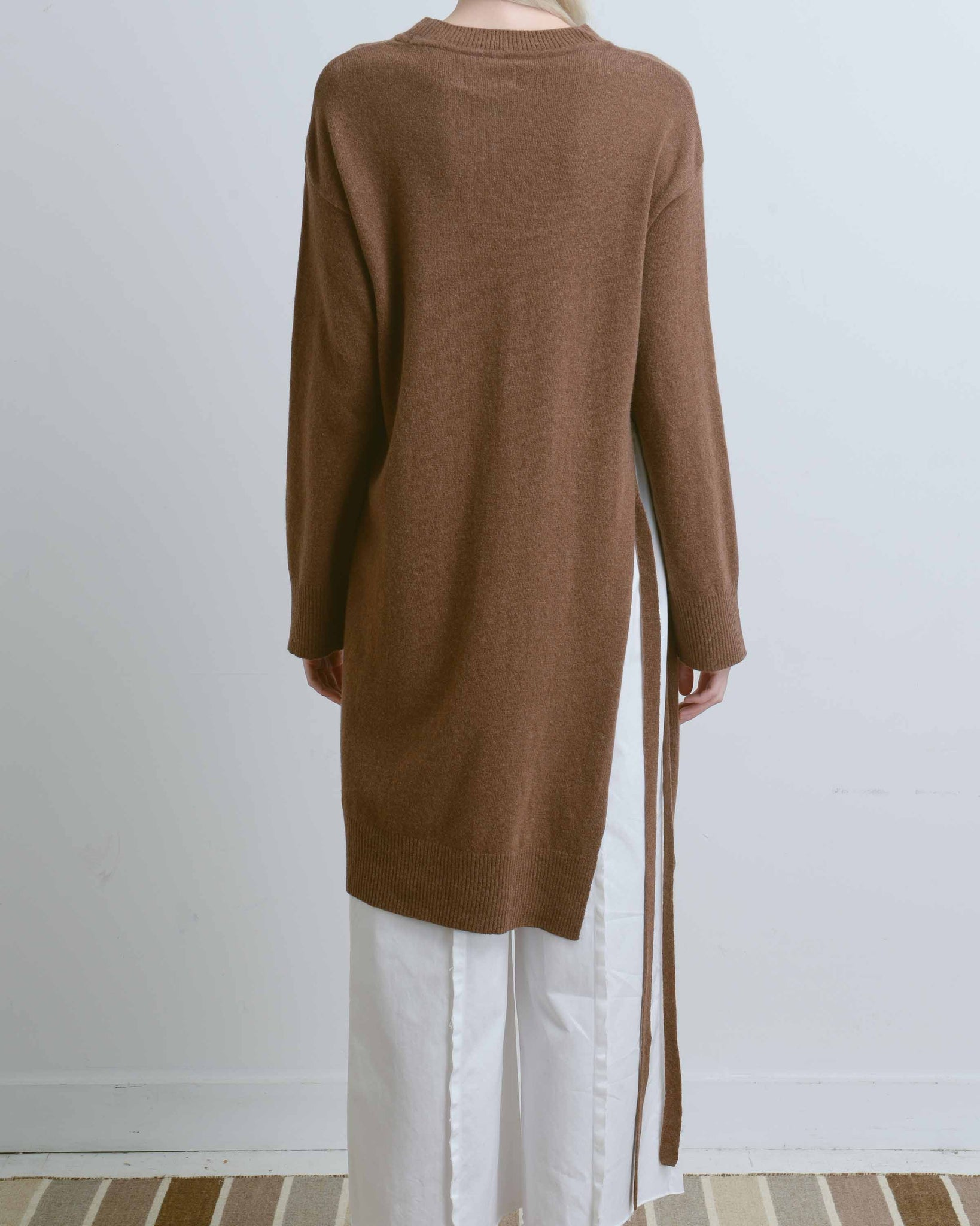 Brown Long Side Slit Sweater