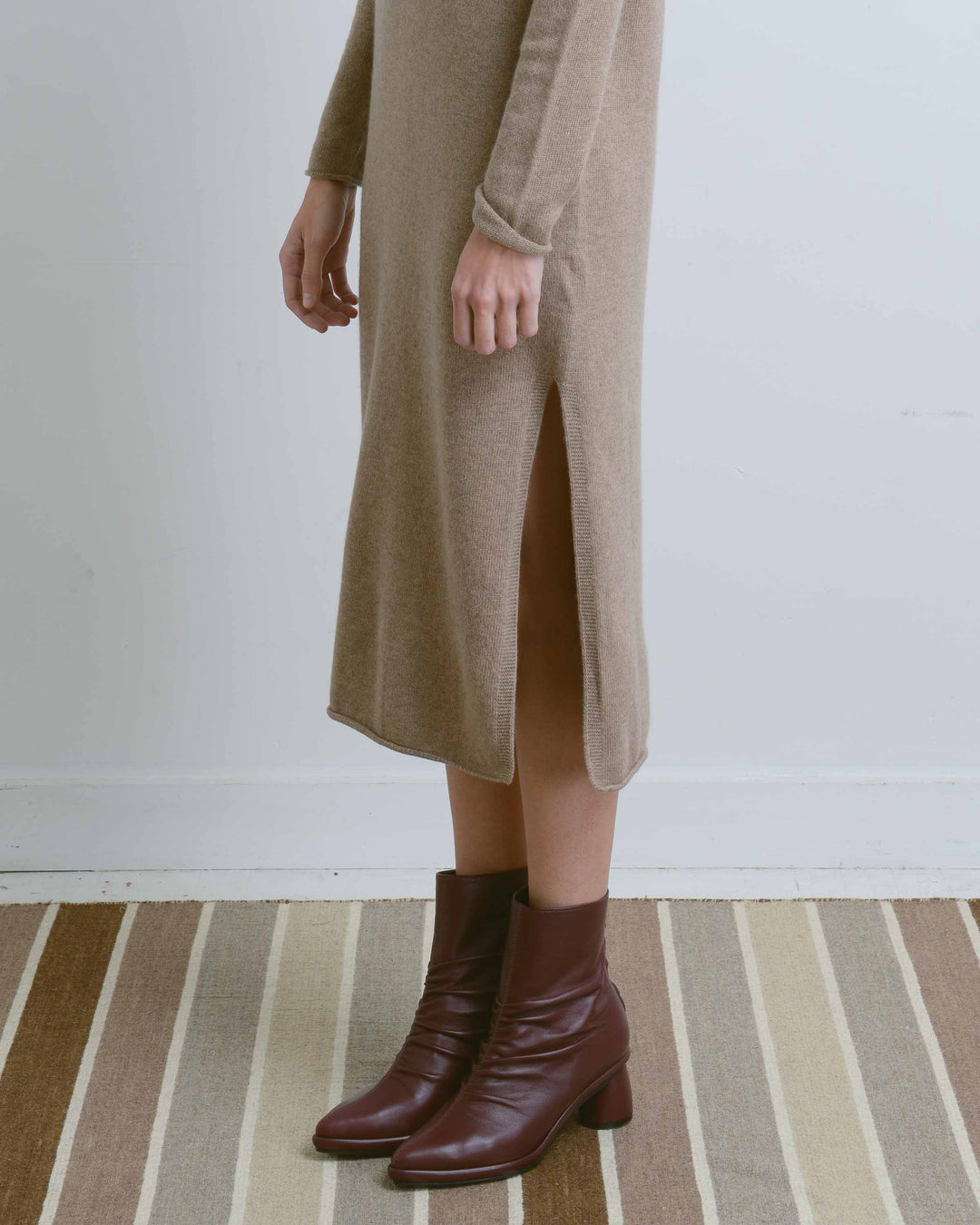 Beige Long Sweater Dress