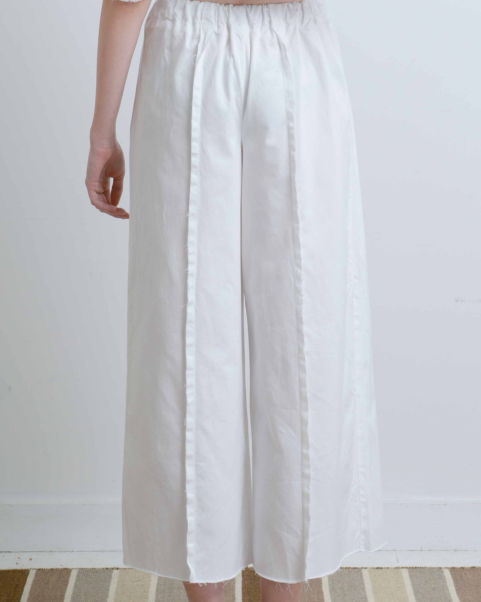 White Denim Pants with Seams