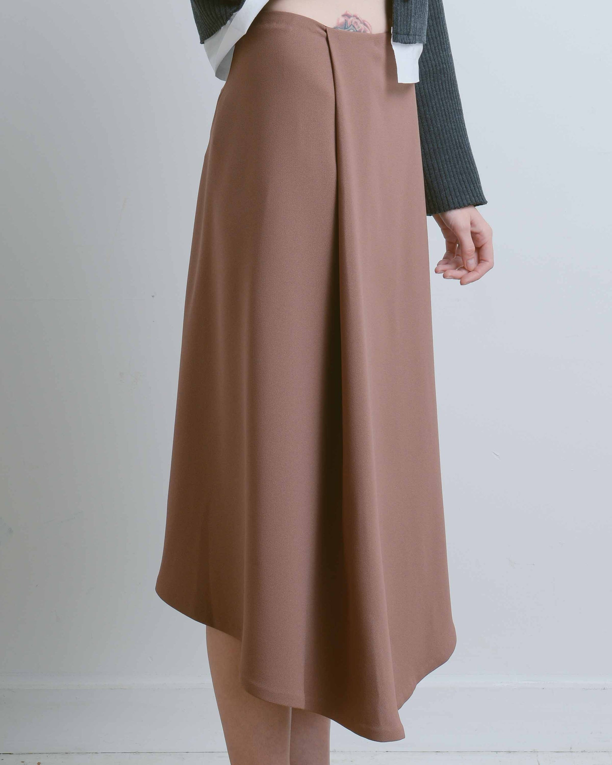 Deep Pleated Midi Skirt