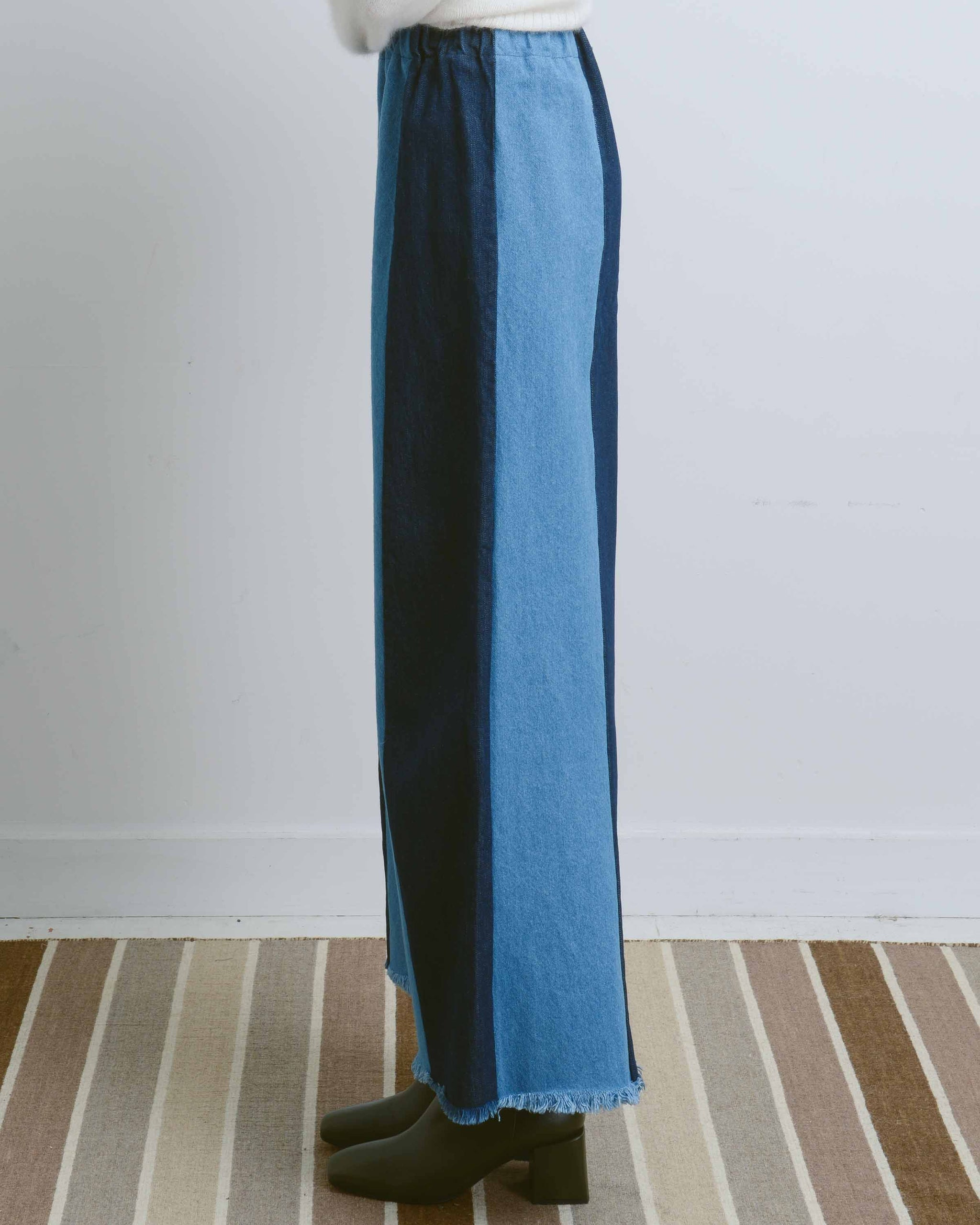 Dark Blue Sewn Stripe Pants