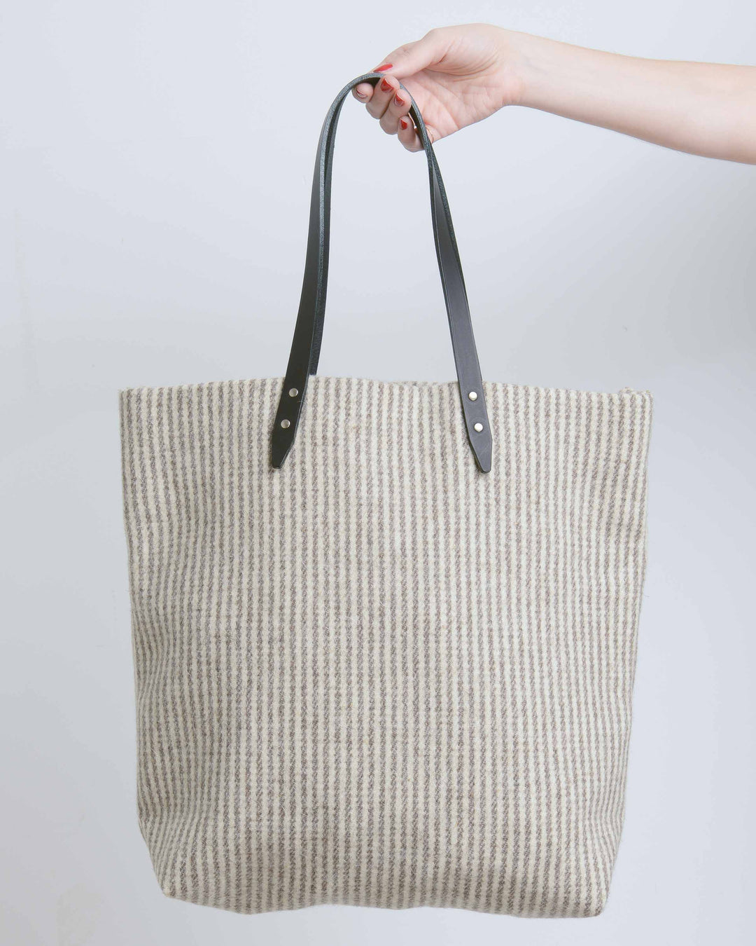 Grey & Cream Small Stripe Blanket Tote