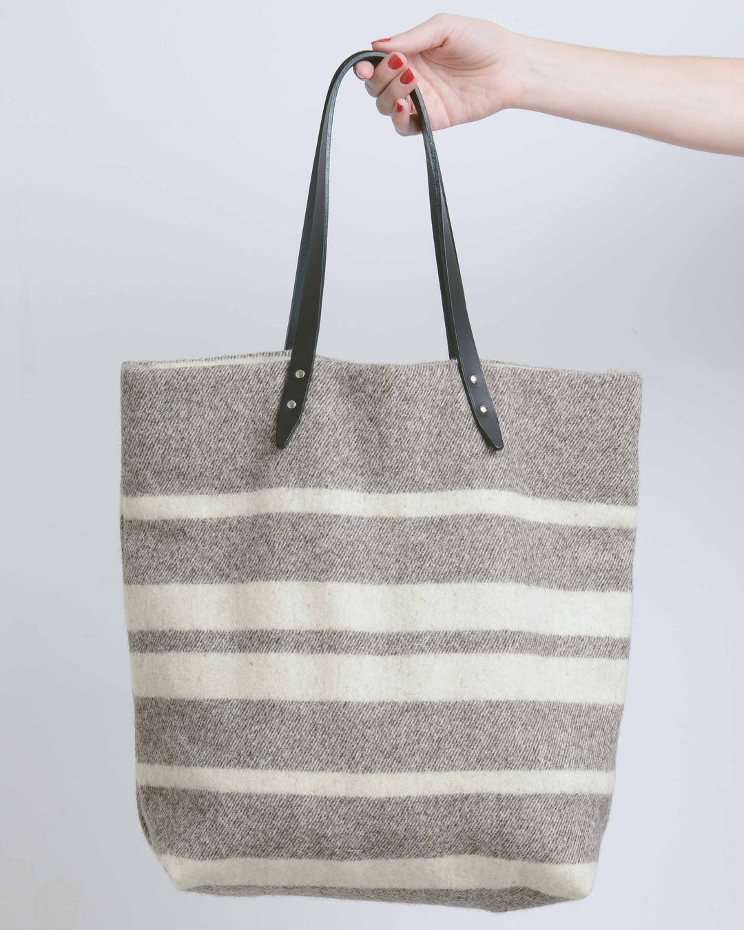 Grey & Cream Large Stripe Blanket Tote