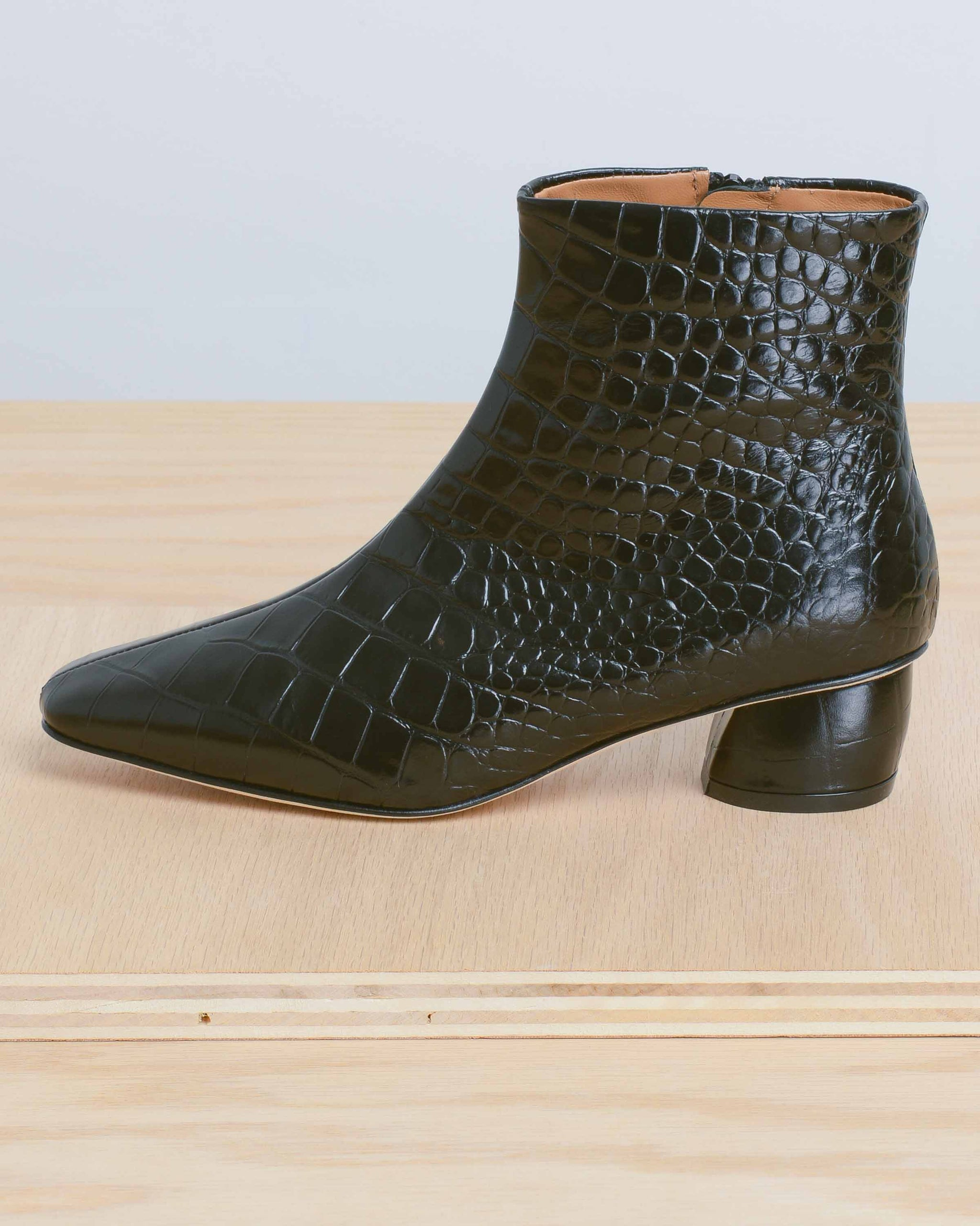 Black Matea Crocodile Boots