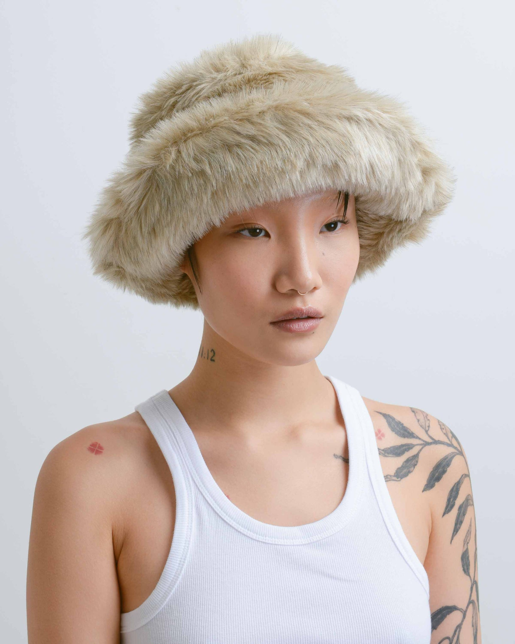 New Ecru Fur Bucket Hat