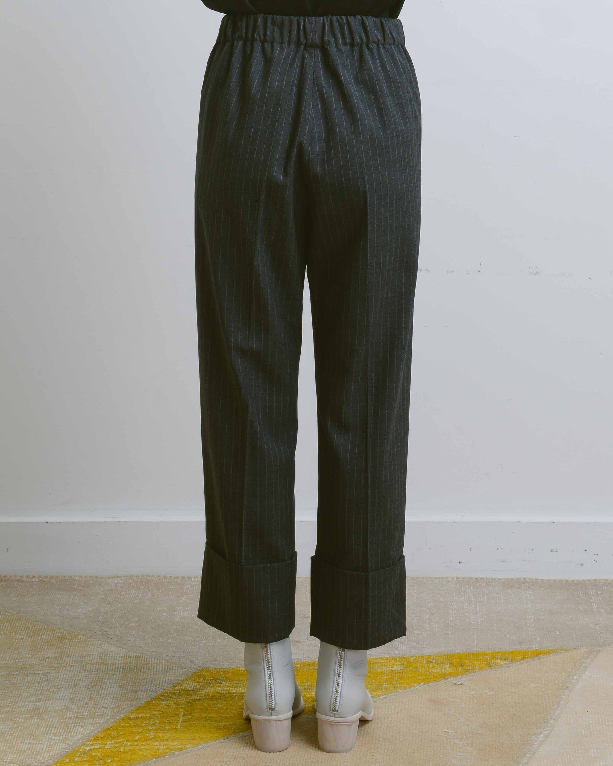 Charcoal Stripe Em Pull On Pant