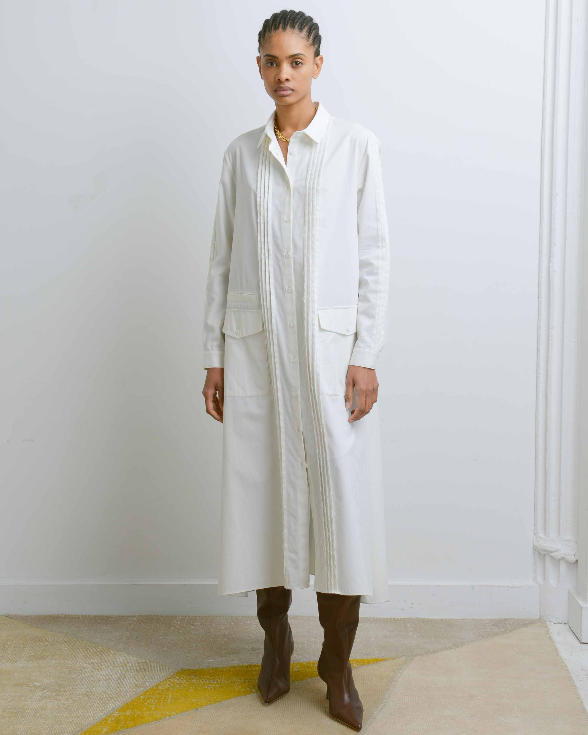 Off White Pin Pleats Shirtdress