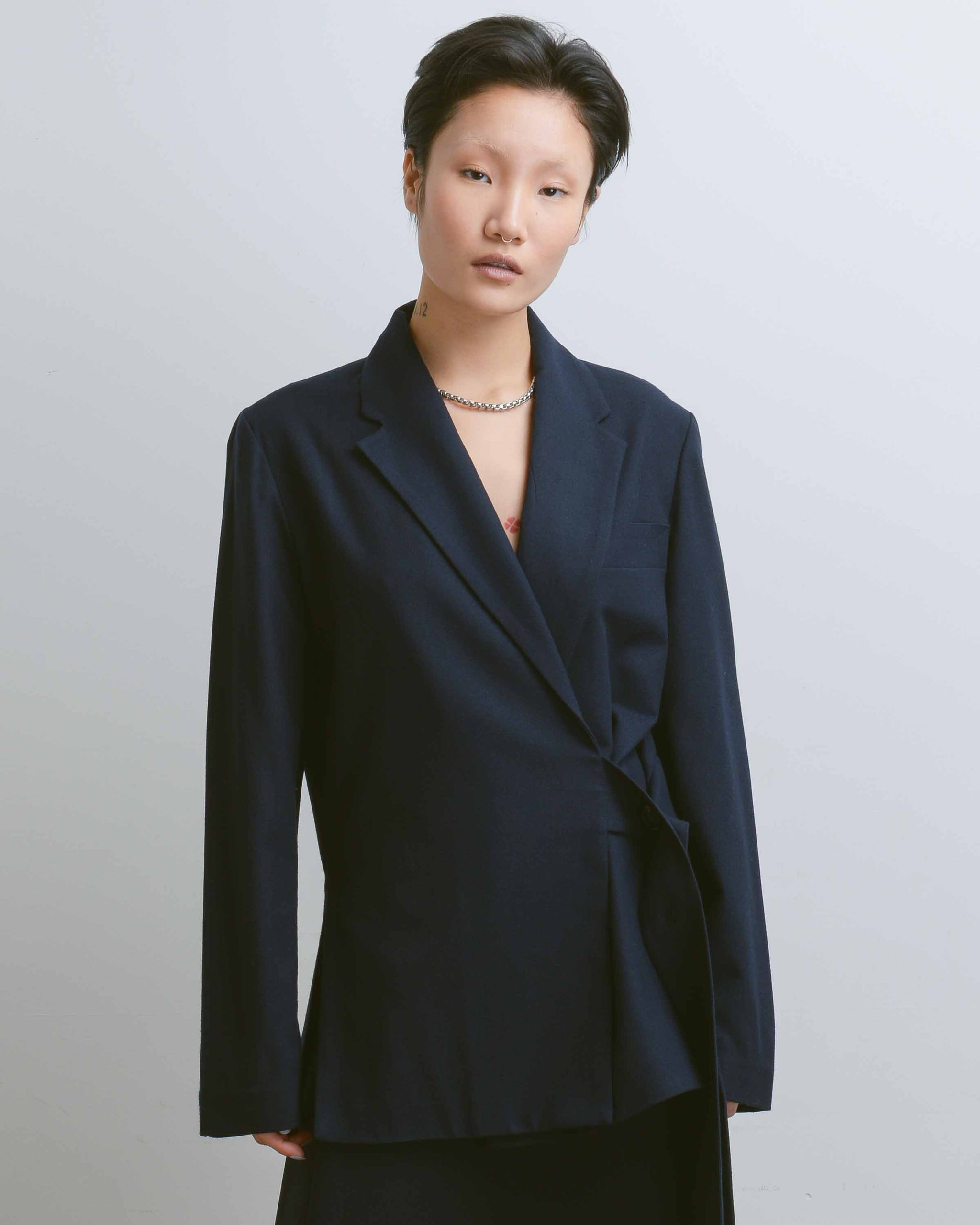 Navy Wool Blend Oversized Jacket