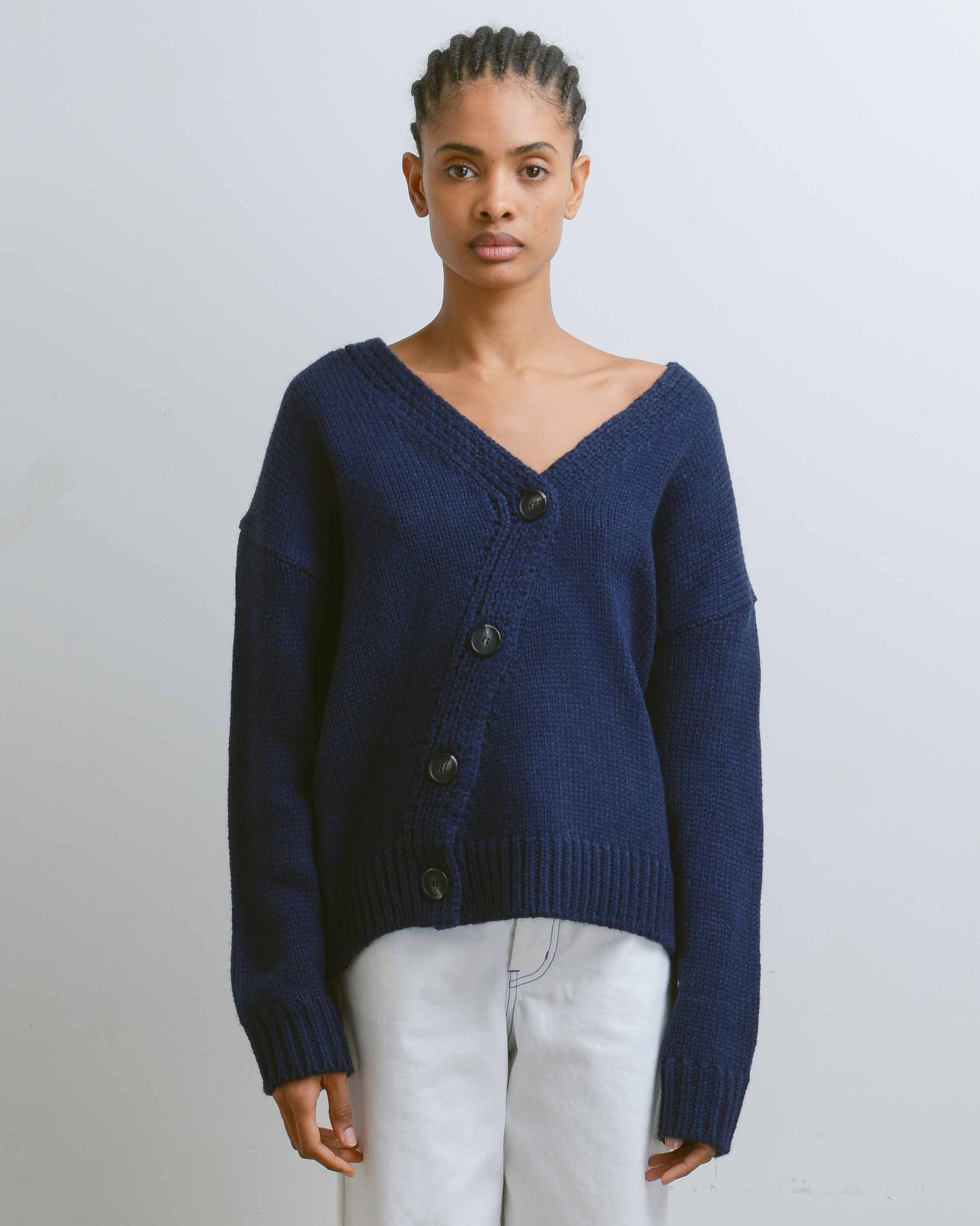 Navy Chunky Knit Cardigan