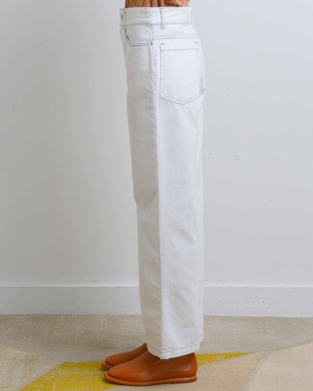 Ecru Denim Linear Jean
