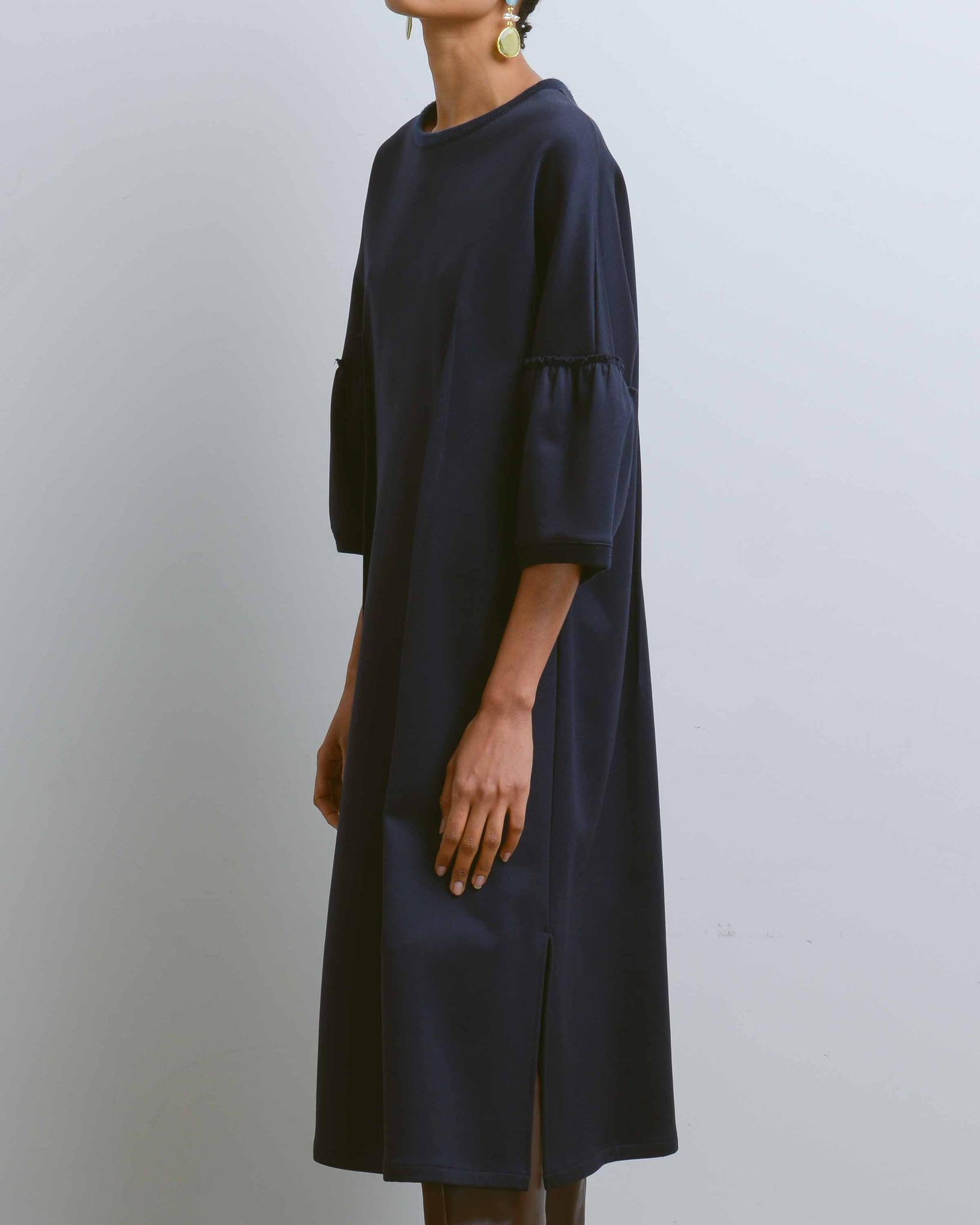 Navy Moderato Over Sleeve Dress