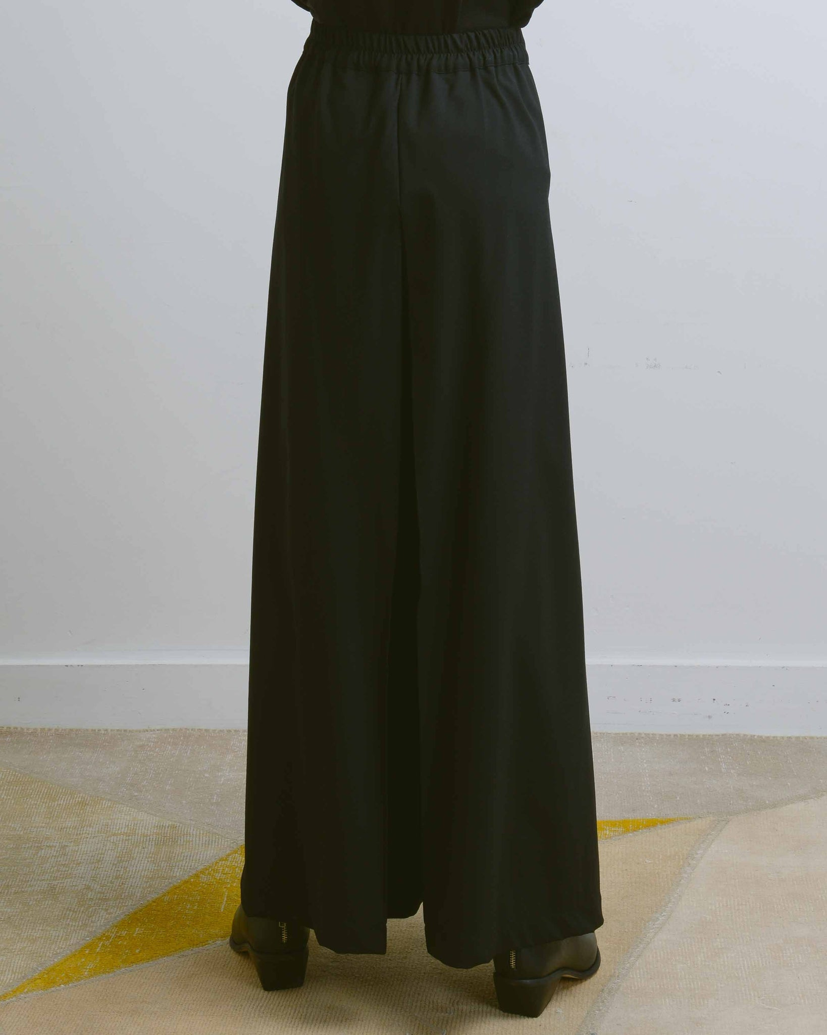 Black Asymmetric Pleats Wrap Pants