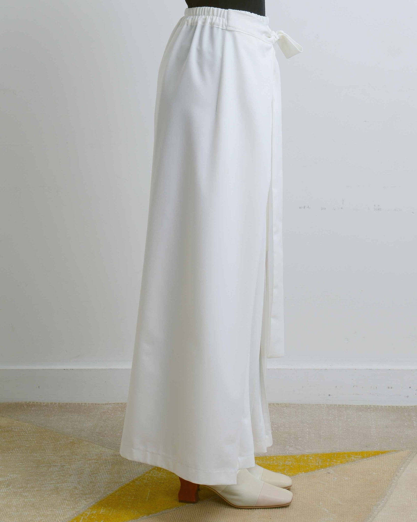 White Asymmetric Pleats Wrap Pants