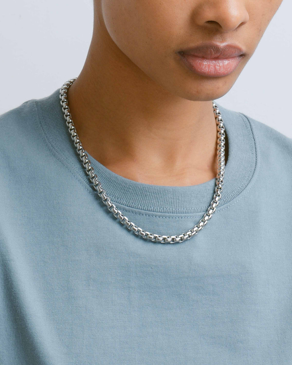 Silver Thick Rounded Chain Necklace