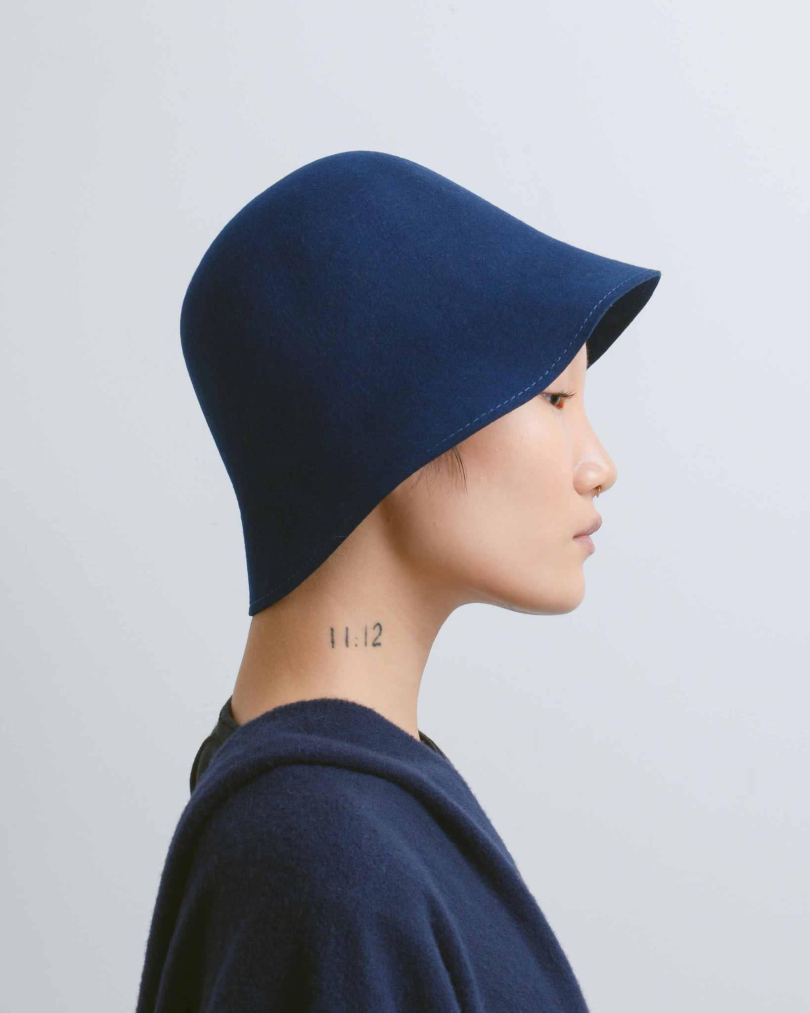 Navy Felt Cloche Hat