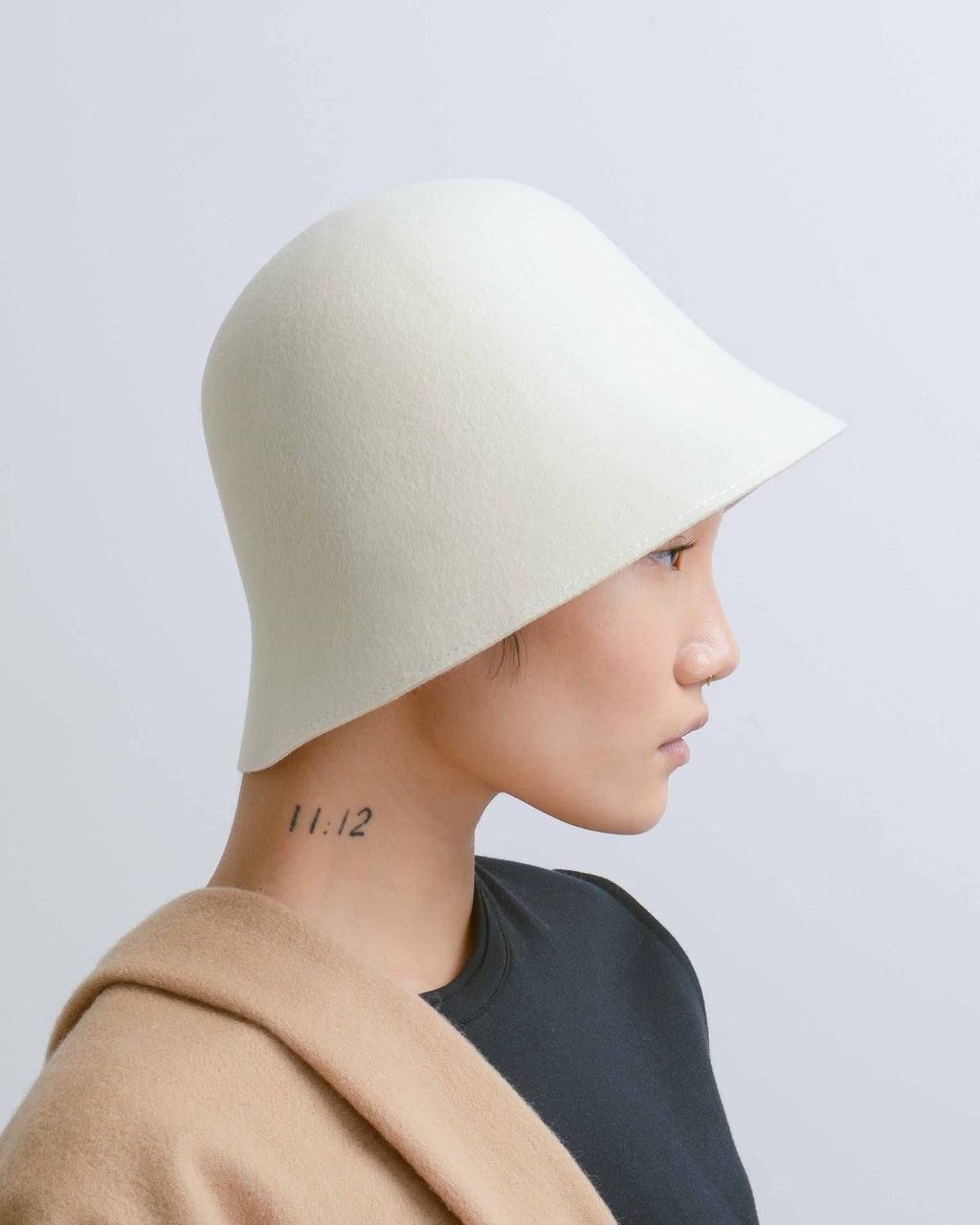 Cream Felt Cloche Hat