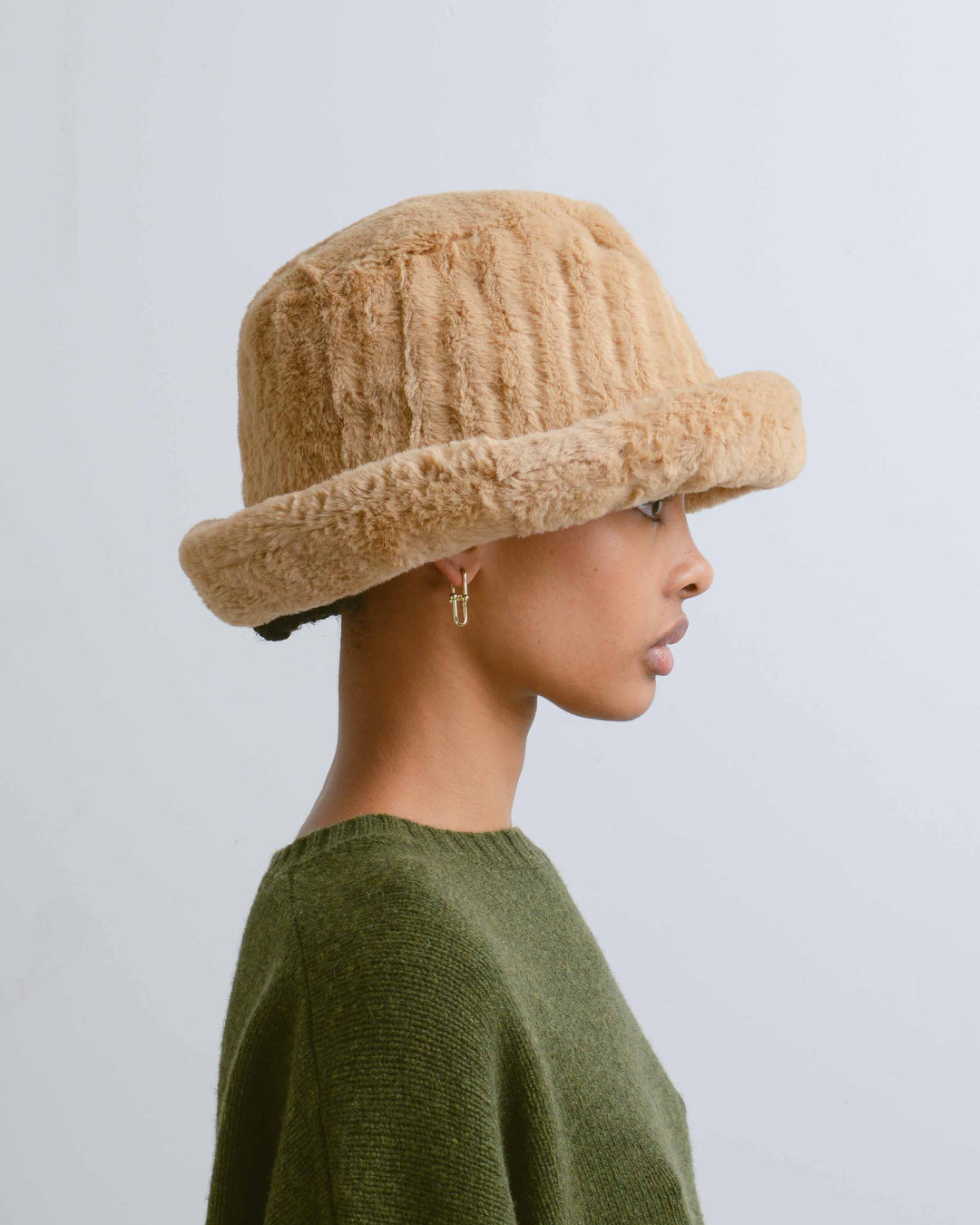 Camel Faux Fur Bucket Hat