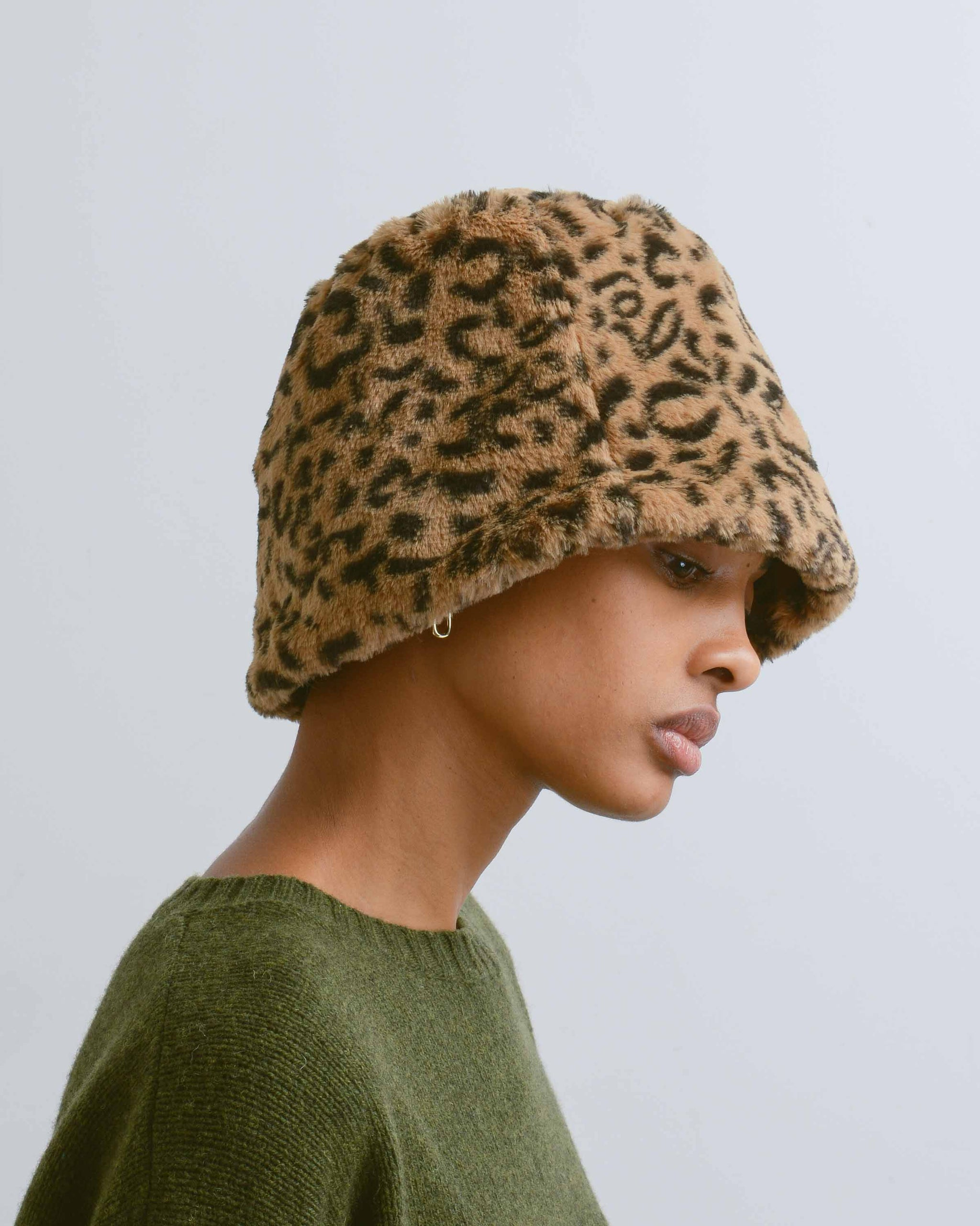 Leopard Faux Fur Bucket Hat
