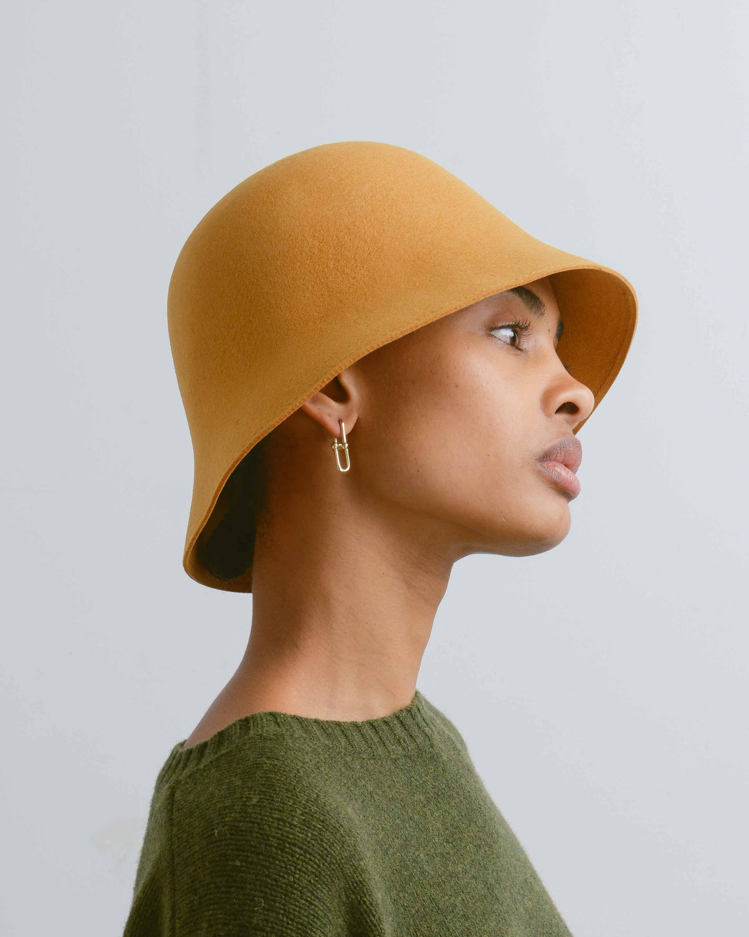Gold Felt Cloche Hat