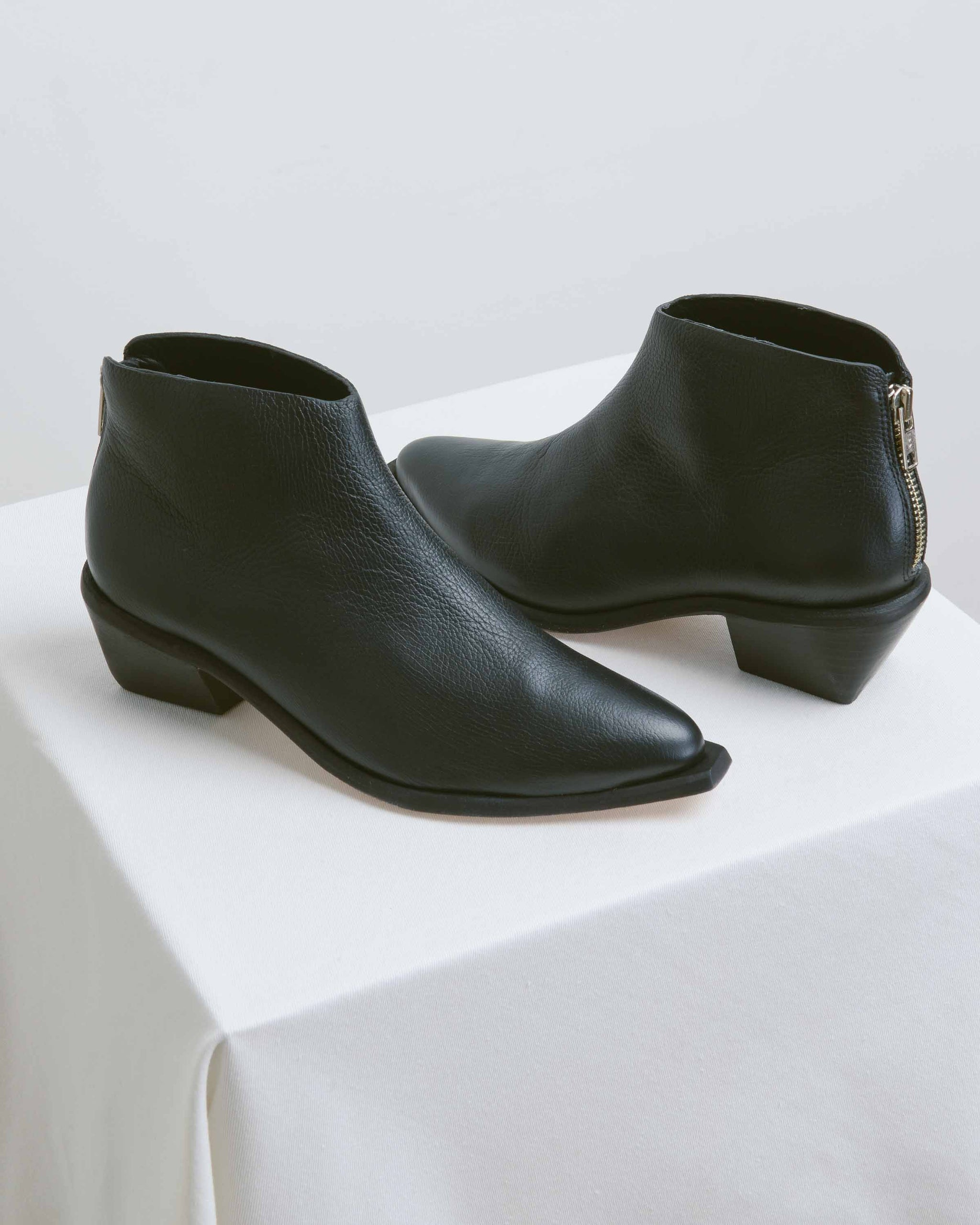 Black Calf West Bootie
