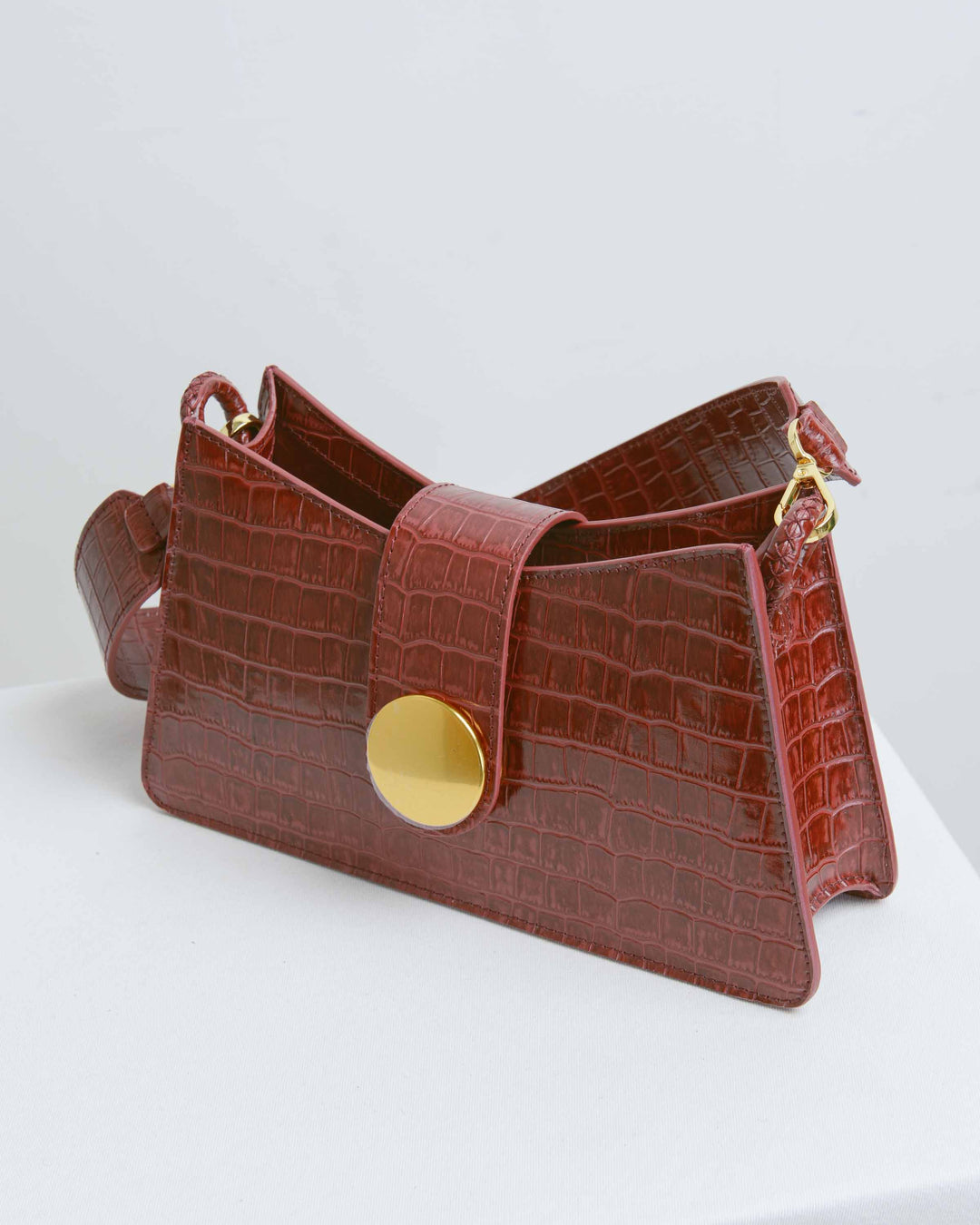 Croco Burgundy Leather Baguette Bag