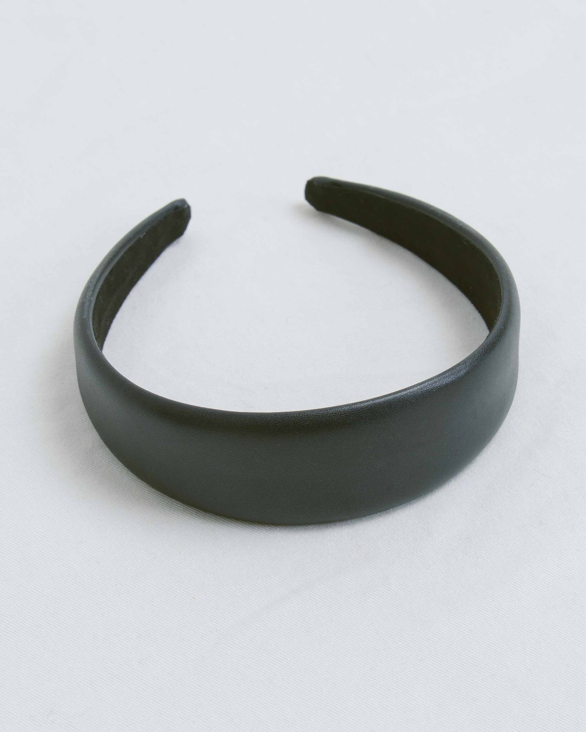 Black Faux Leather Wide Headband