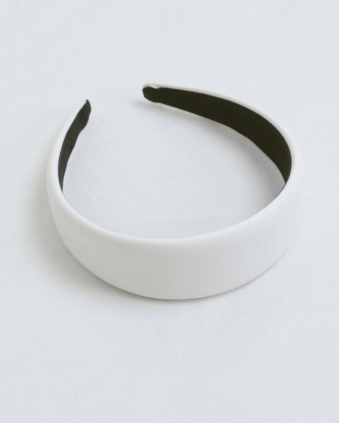 White Faux Leather Wide Headband