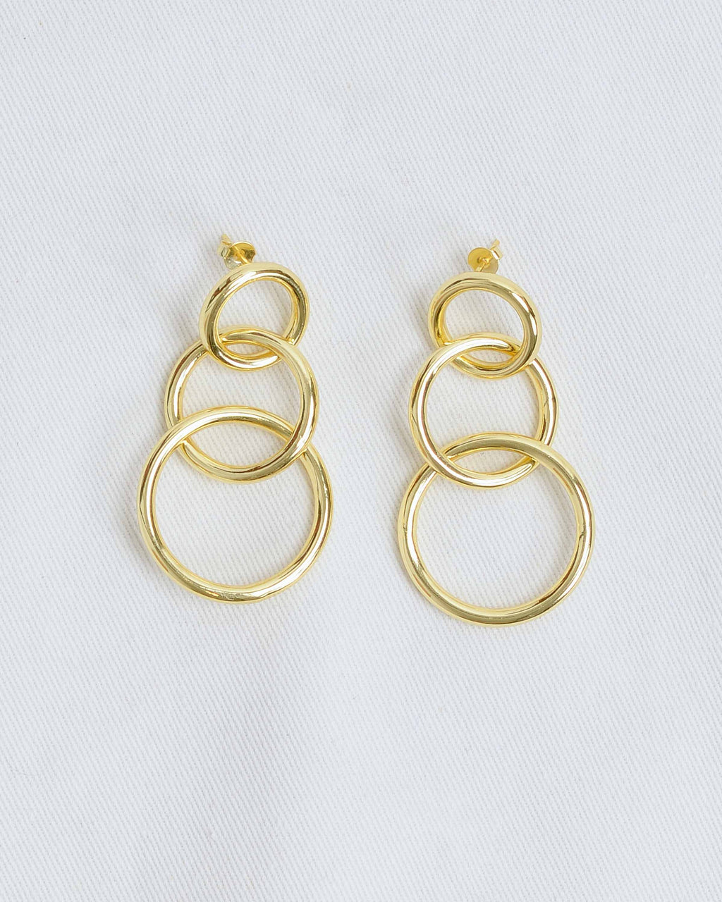 Gold Brass Triple Circle Earrings
