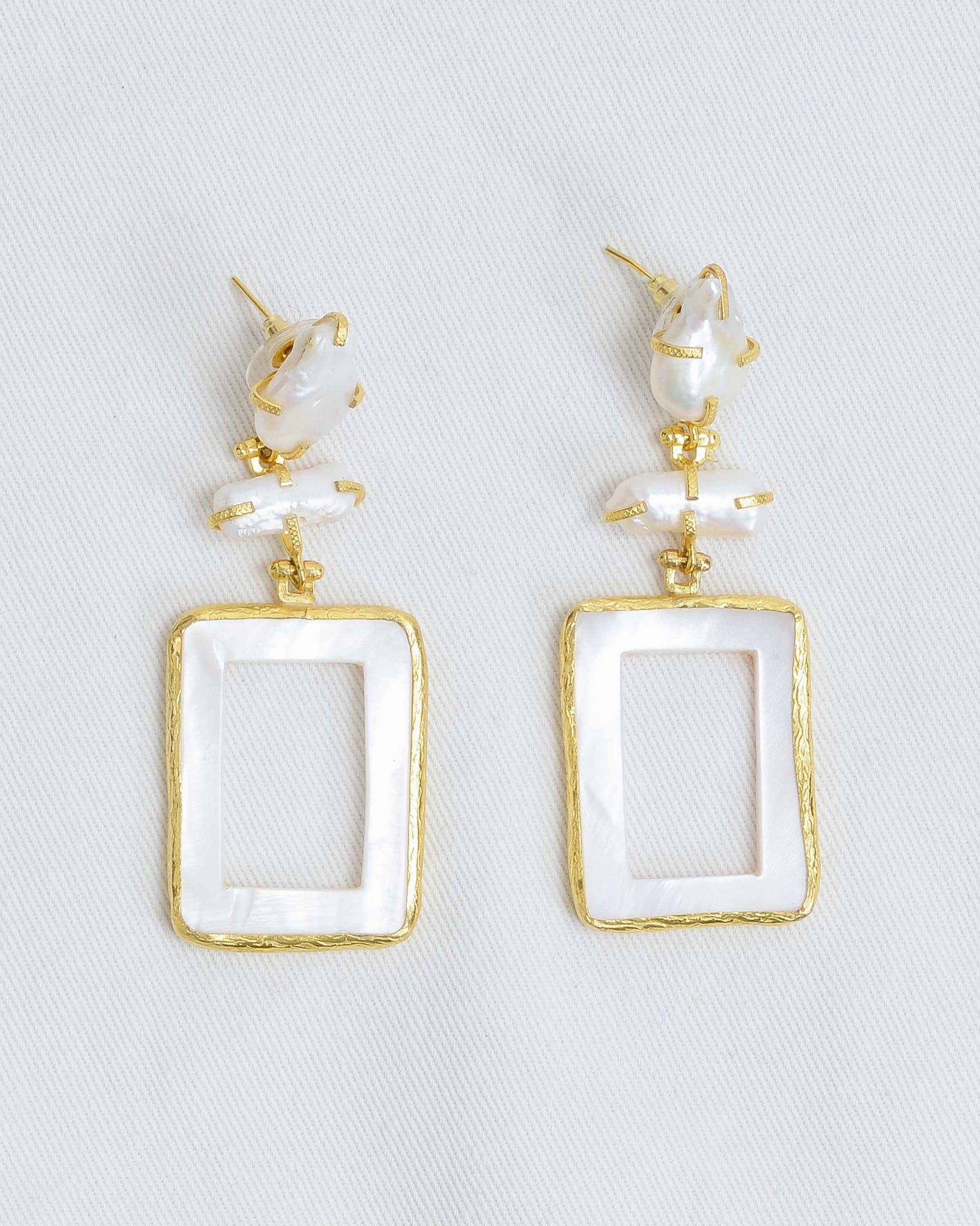 Pearl Gold Rectangle Statement Earrings